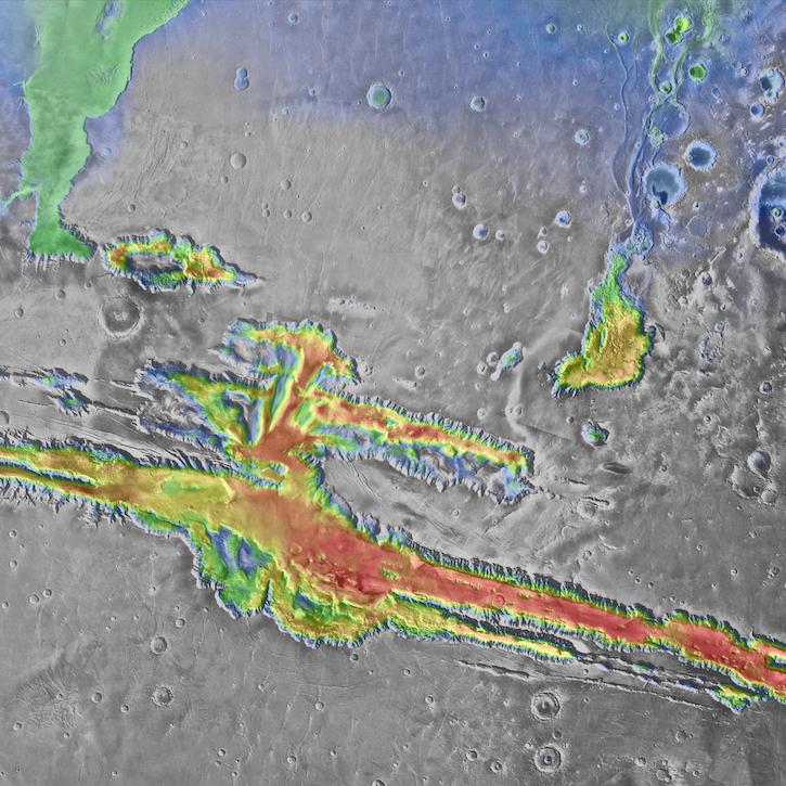 Valles Marineris with MOLA topographic data. Image ~1000 km across.