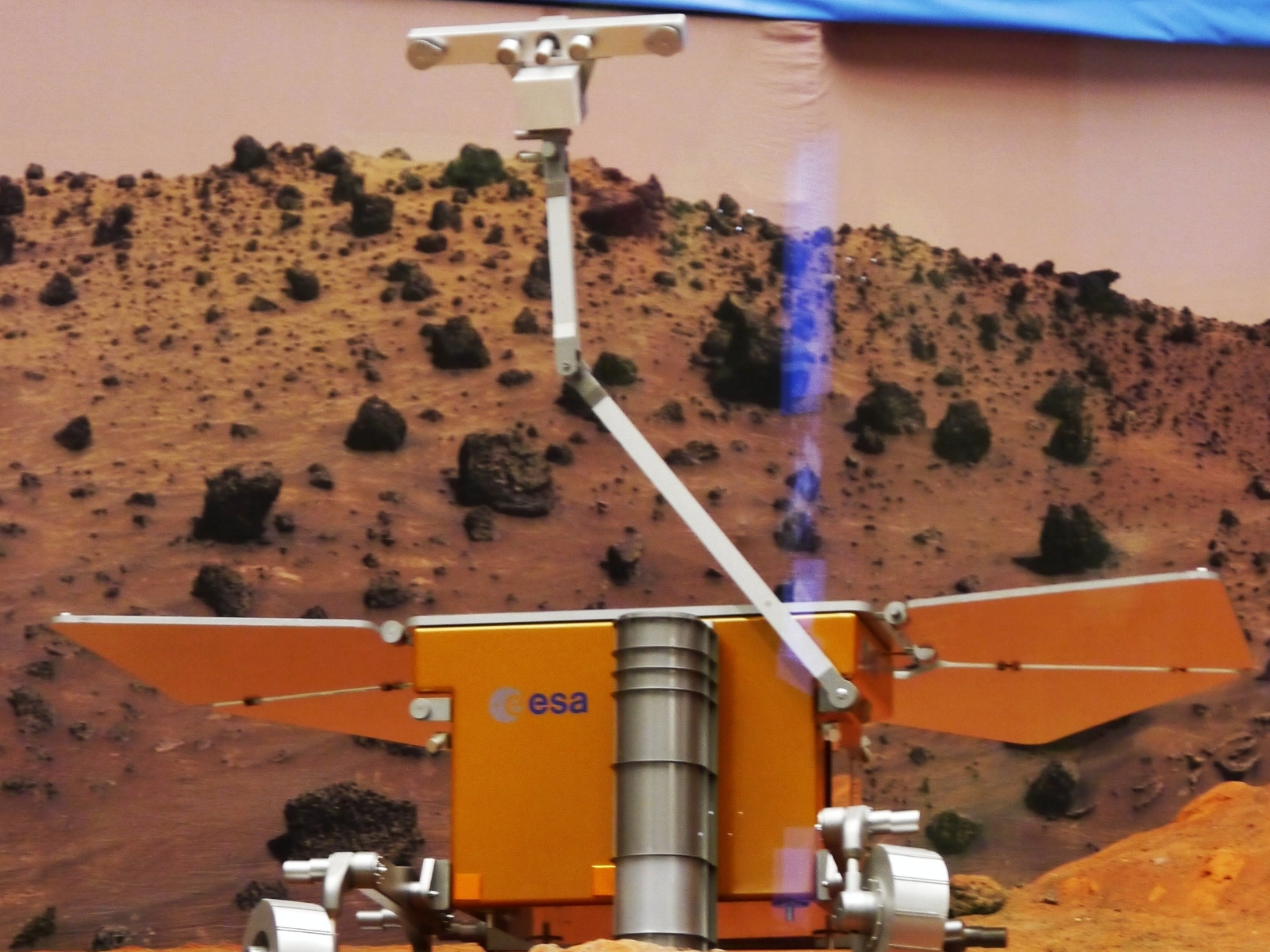 One of the ExoMars rover prototypes zooming around.