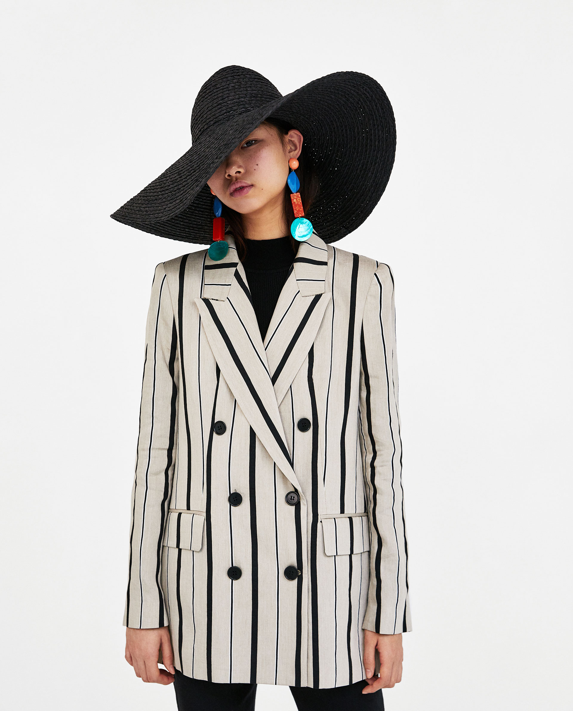 STRIPED DOUBLE-BREASTED BLAZER $159.00