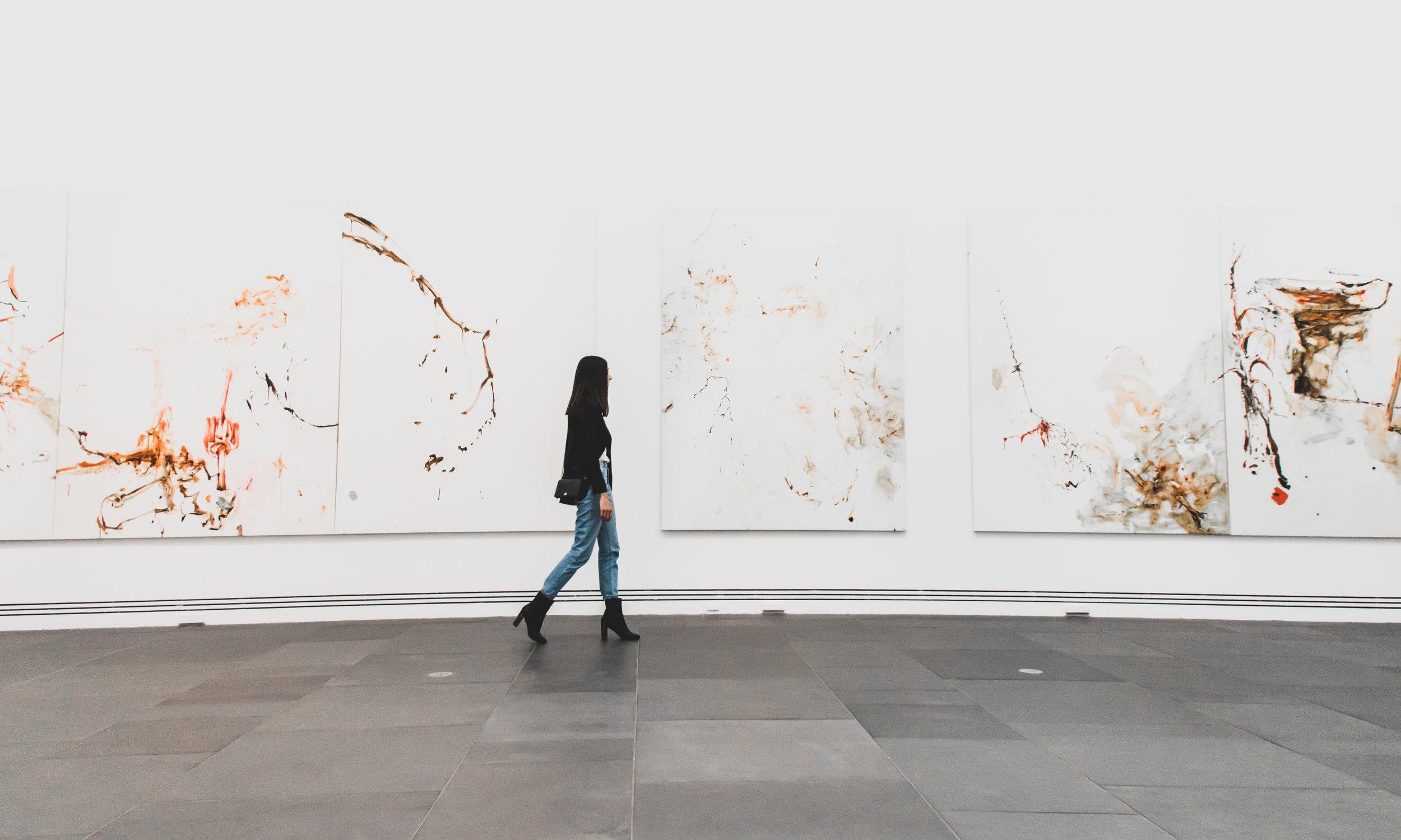 2018 Adelaide Biennial of Australian Art: Divided Worlds featuring John R Walker, Oratunga Burra Suite , Art Gallery of South Australia, Adelaide (edited photo) Model: Georgia Farese
