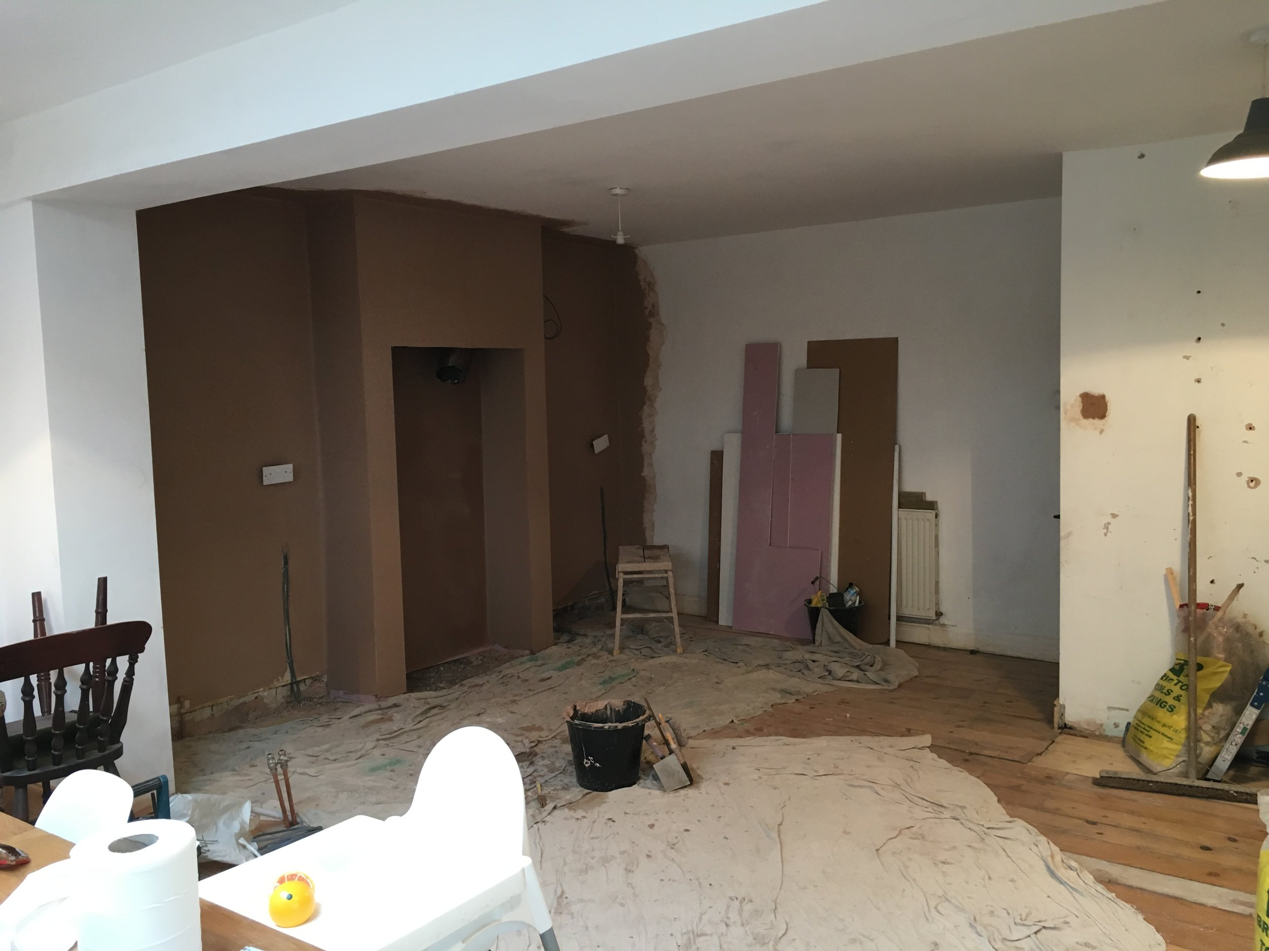 Looking back at the kitchen area from the dining space
