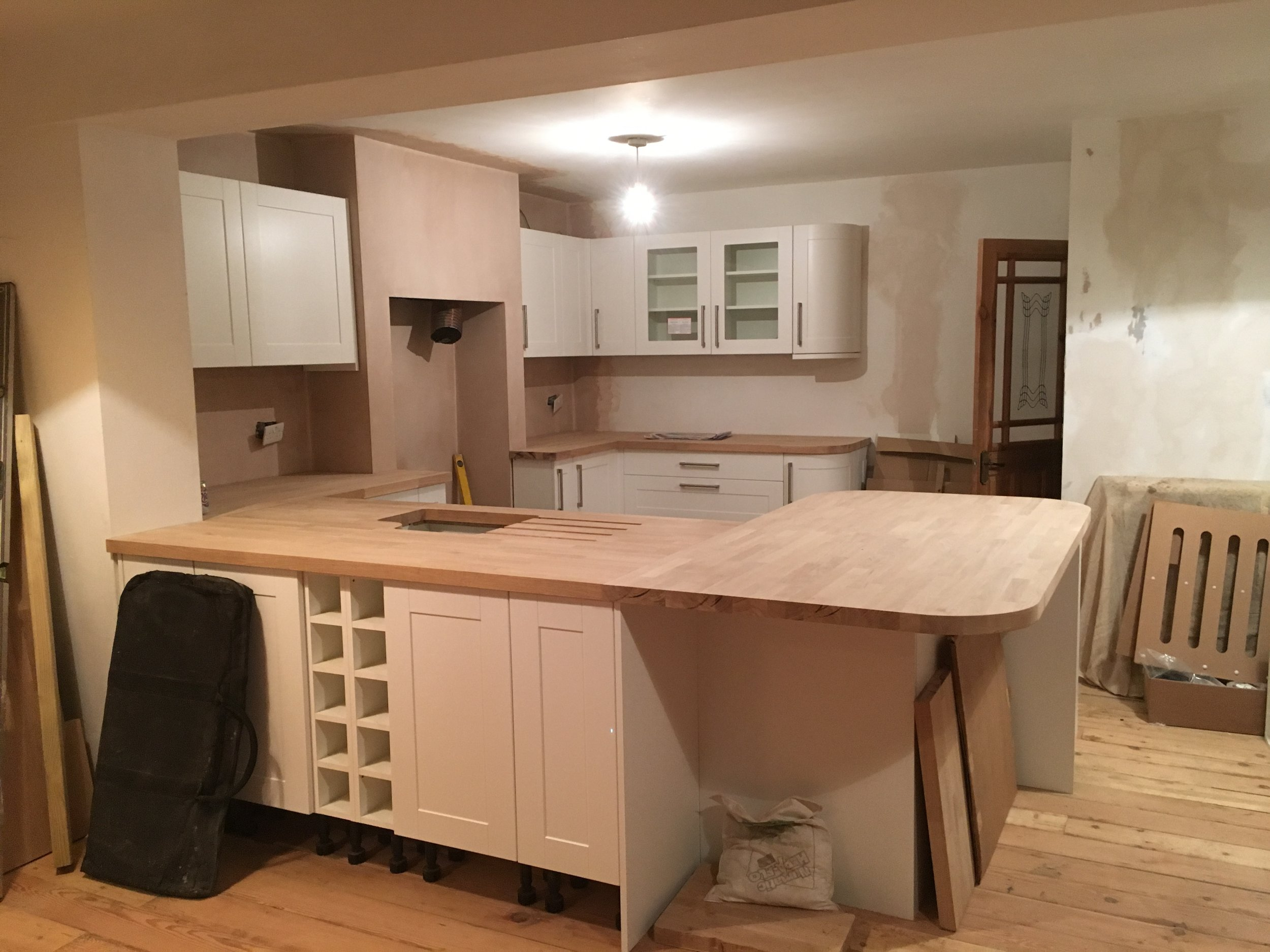 Kitchen units and worktops completed