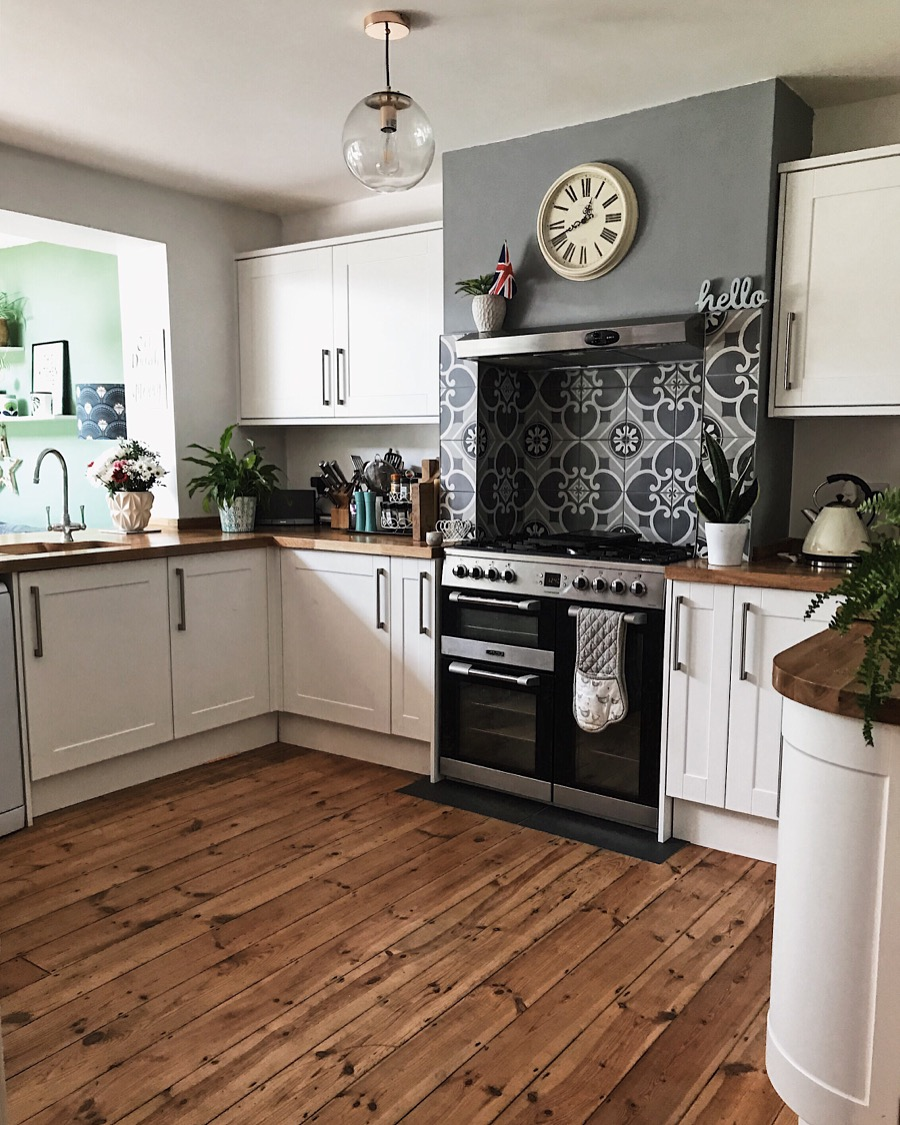 The view of the kitchen as you walk in