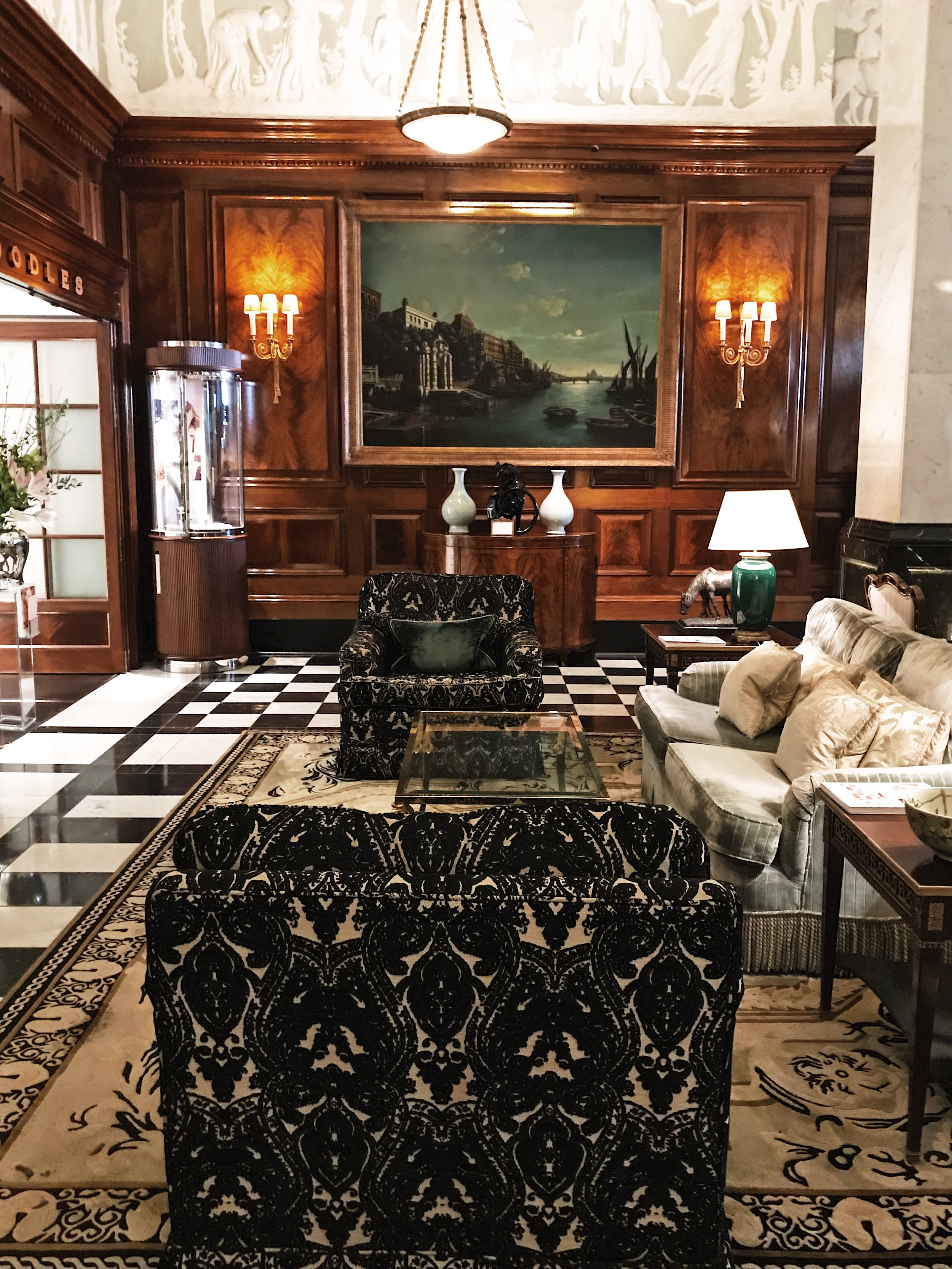 The lobby in the Savoy Front Hall