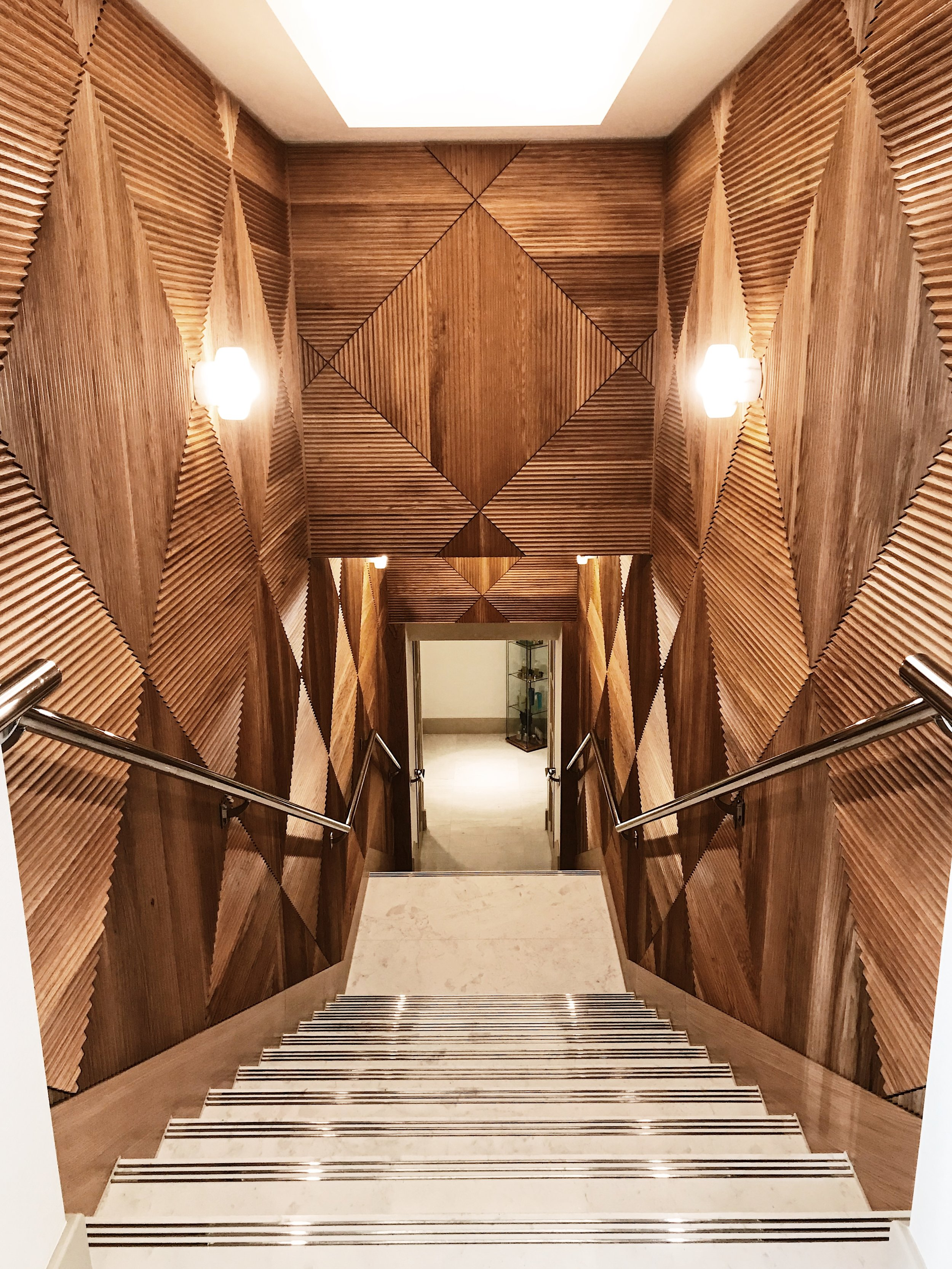 The wooden entrance to the Savoy Beauty and Fitness