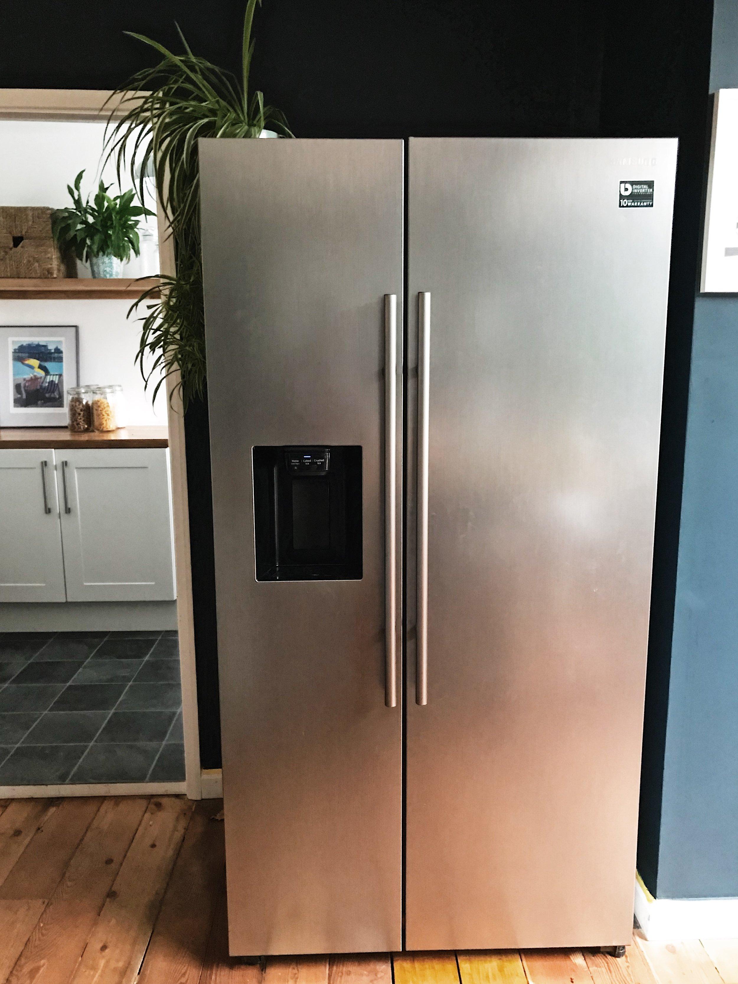 A very stylish and sleek Fridge Freezer (with a few kids hand prints on!)