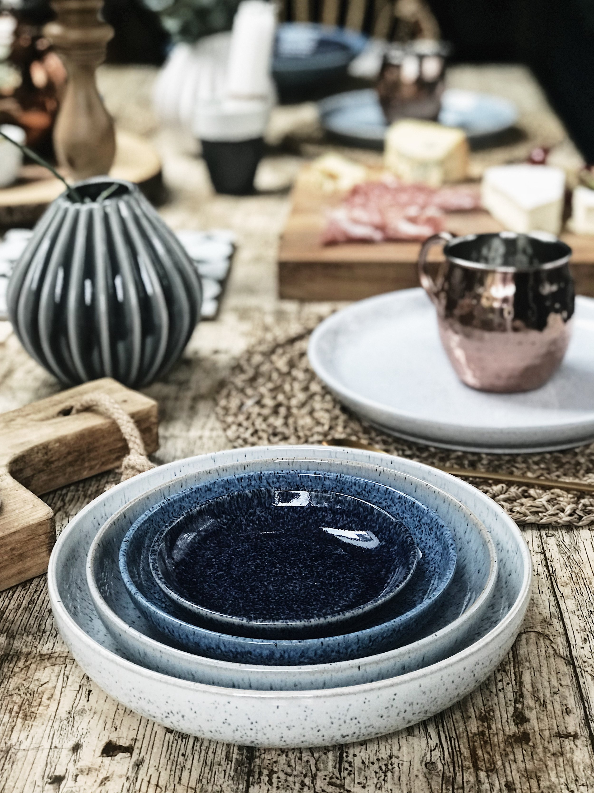 Studio Blue nesting bowls -  Denby Pottery