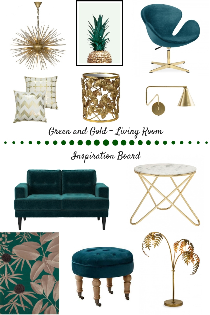 Green & Gold Living Room Inspo - all links below, just click on image!
