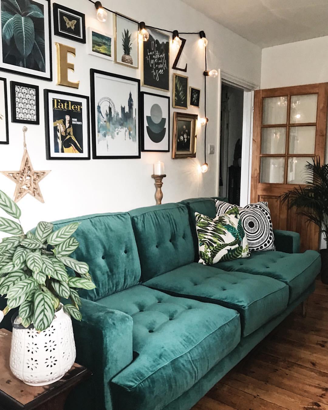 My fabulous new Velvet green sofa from  Sofa.com