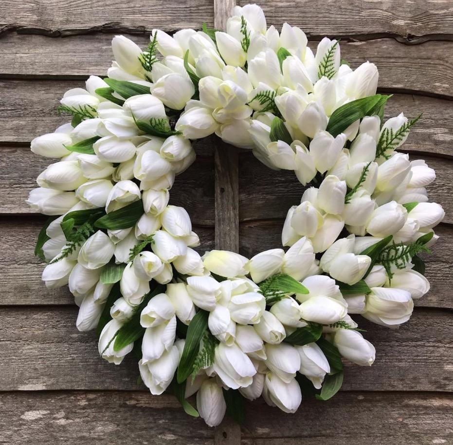 Ivory Tulip Wreath -  @thebigdoorwreathcompany