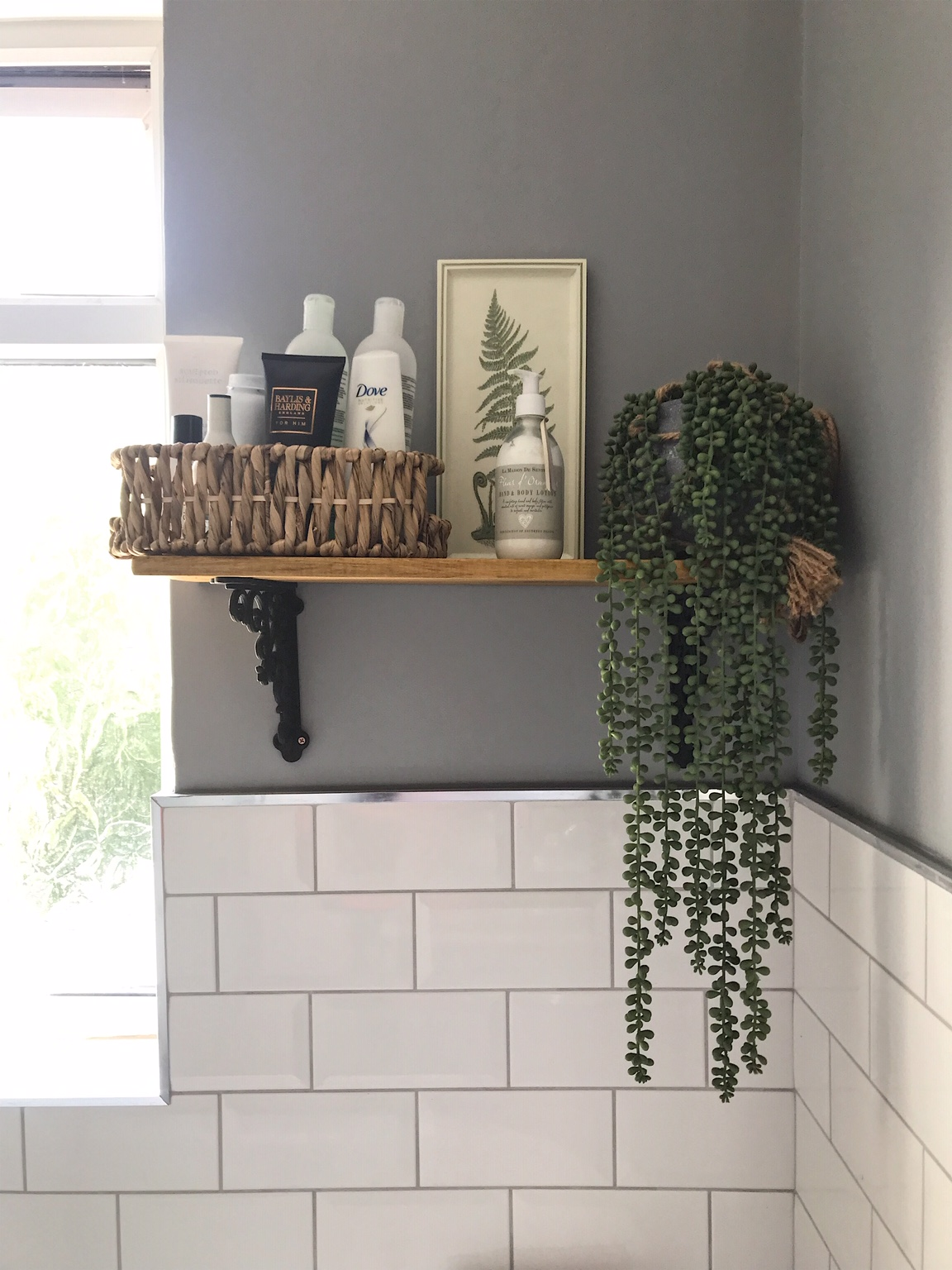 Shelf from  B & Q , faux string of pearls by  Heavenly Home & Gardens , Basket from  HomeSense