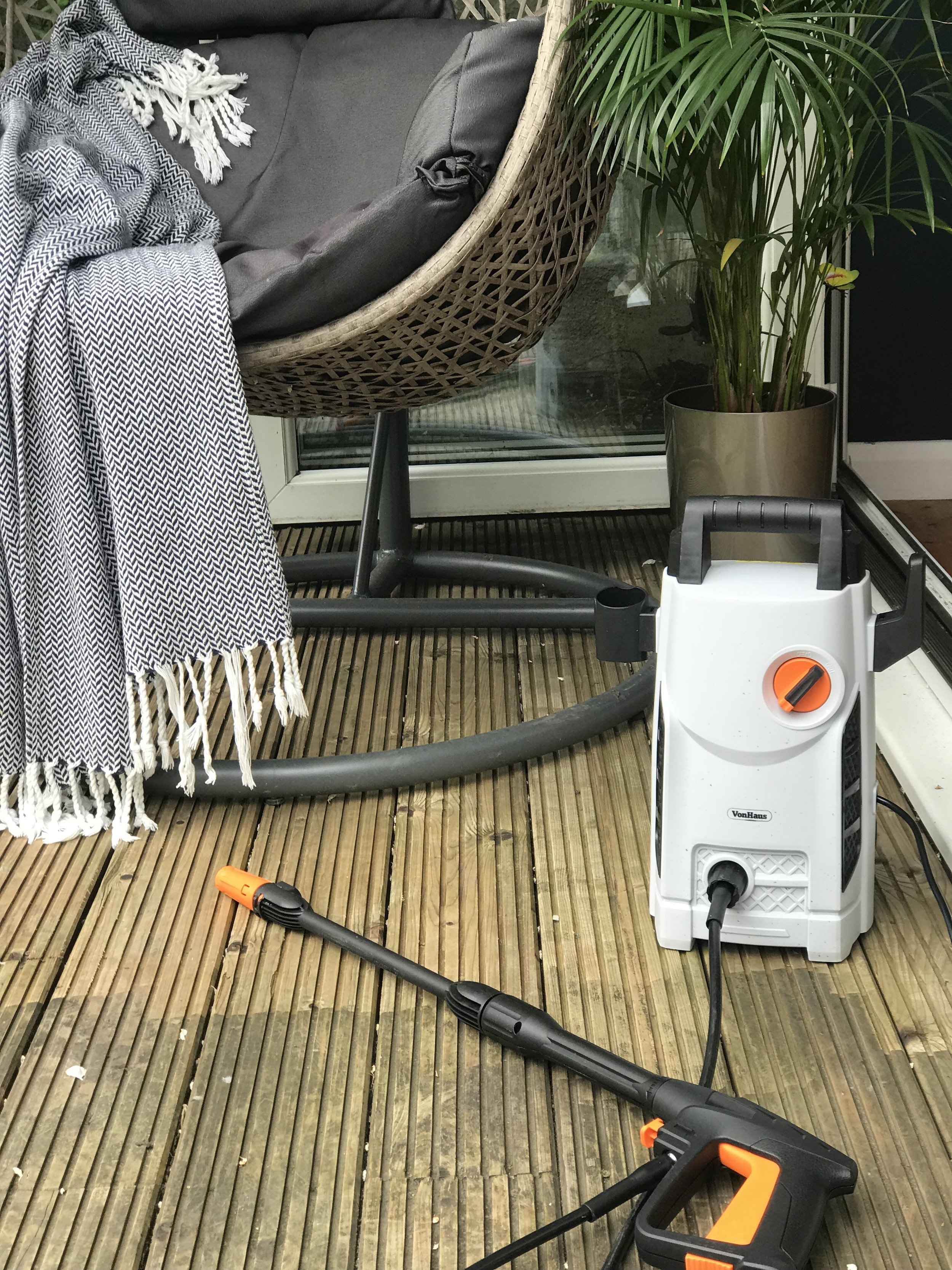 A bit of elbow grease and it took me just under 5 hours to clean the decking with this VonHaus Pressure Washer