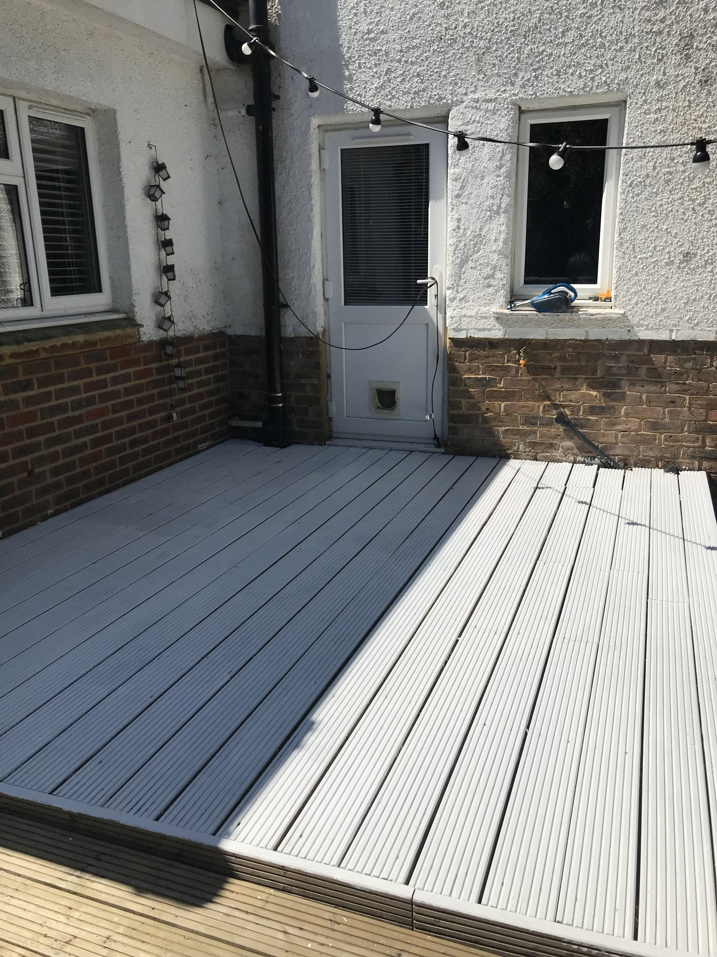 The main part of the decking waiting to dry