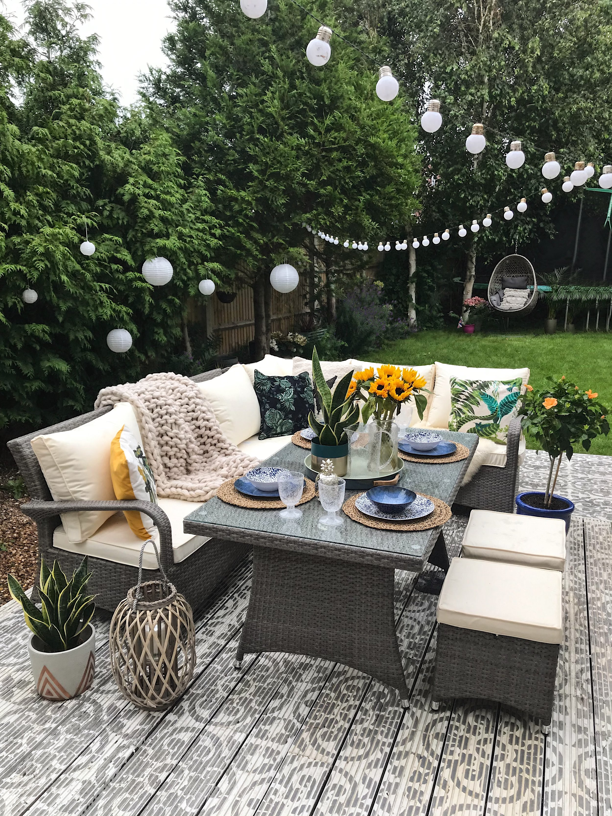 My newly painted decking and the  Seychelle Corner Dining Set  go perfectly together