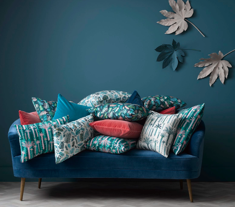 Beautiful patterns and colours of the  Lucy Tiffney collaboration  with sofa.com
