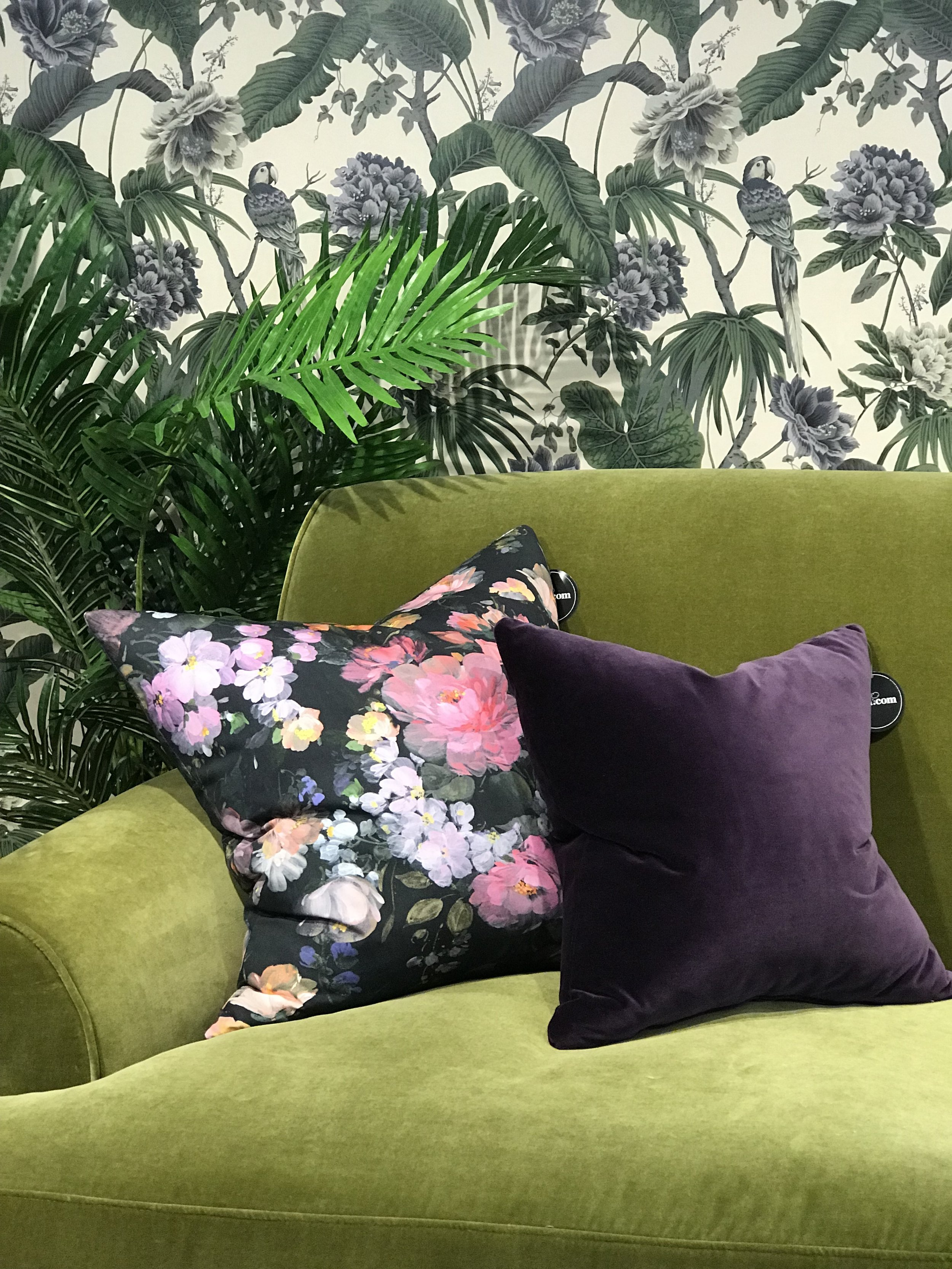 Floral, purple and olive fabrics working perfectly together