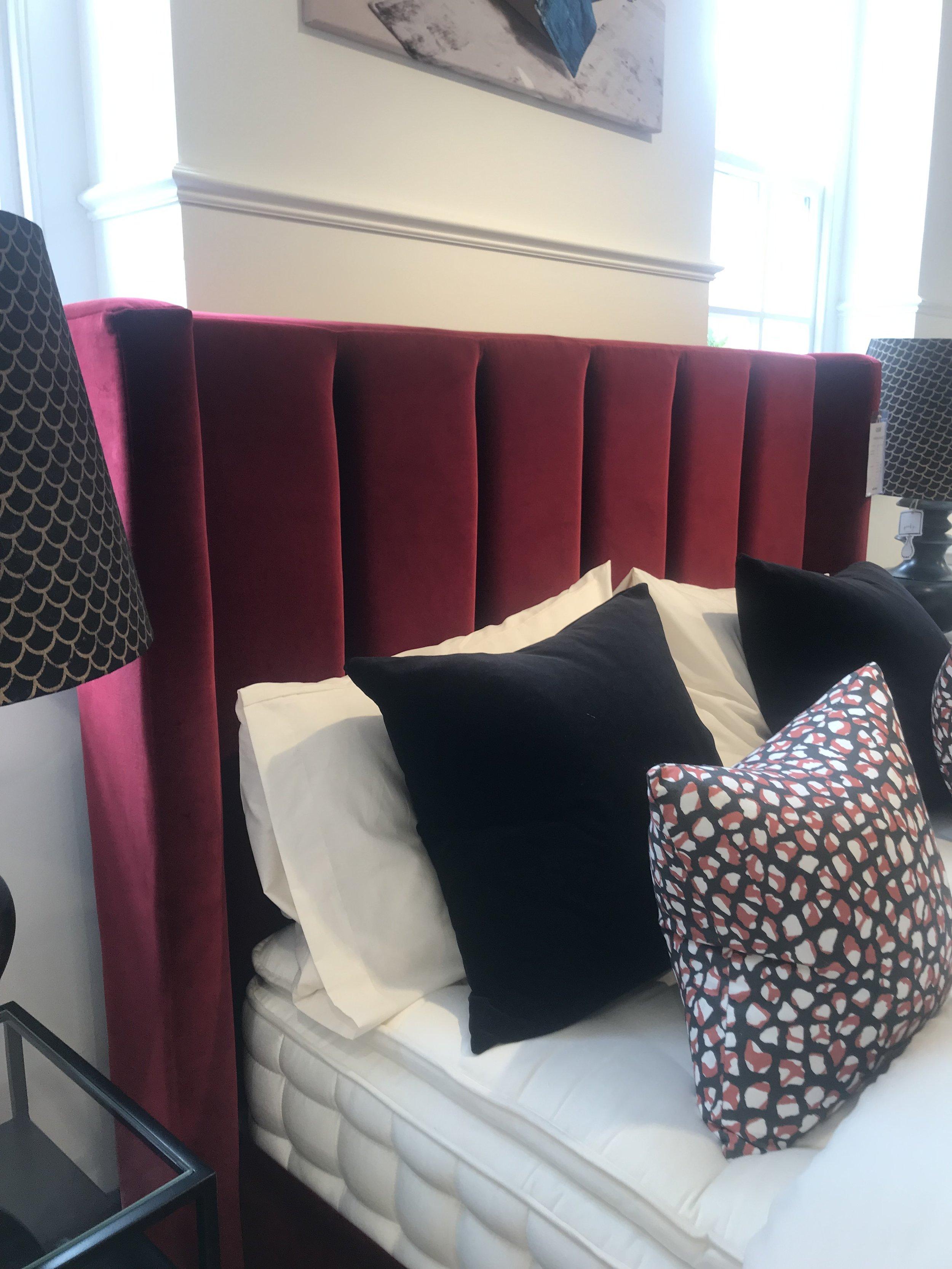 The beautiful  Cleo bed in Claret velvet