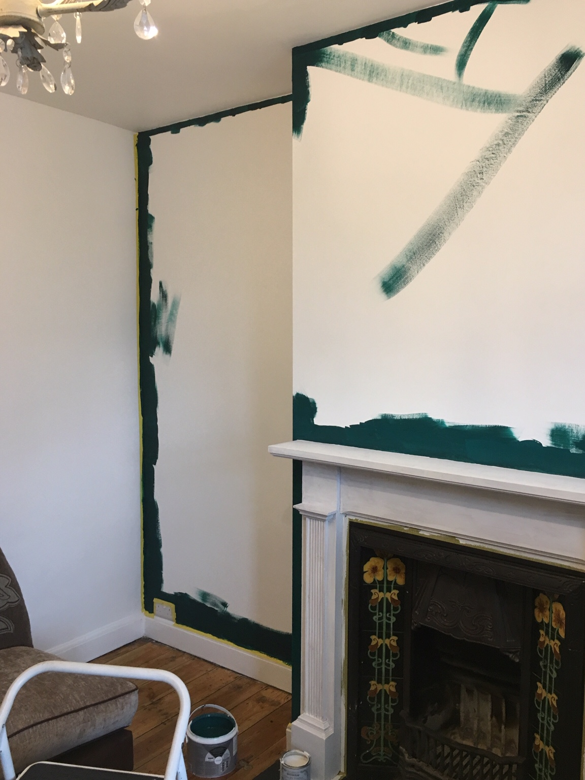 Duck tape on, borders painted in Blue Jade by  Valspar