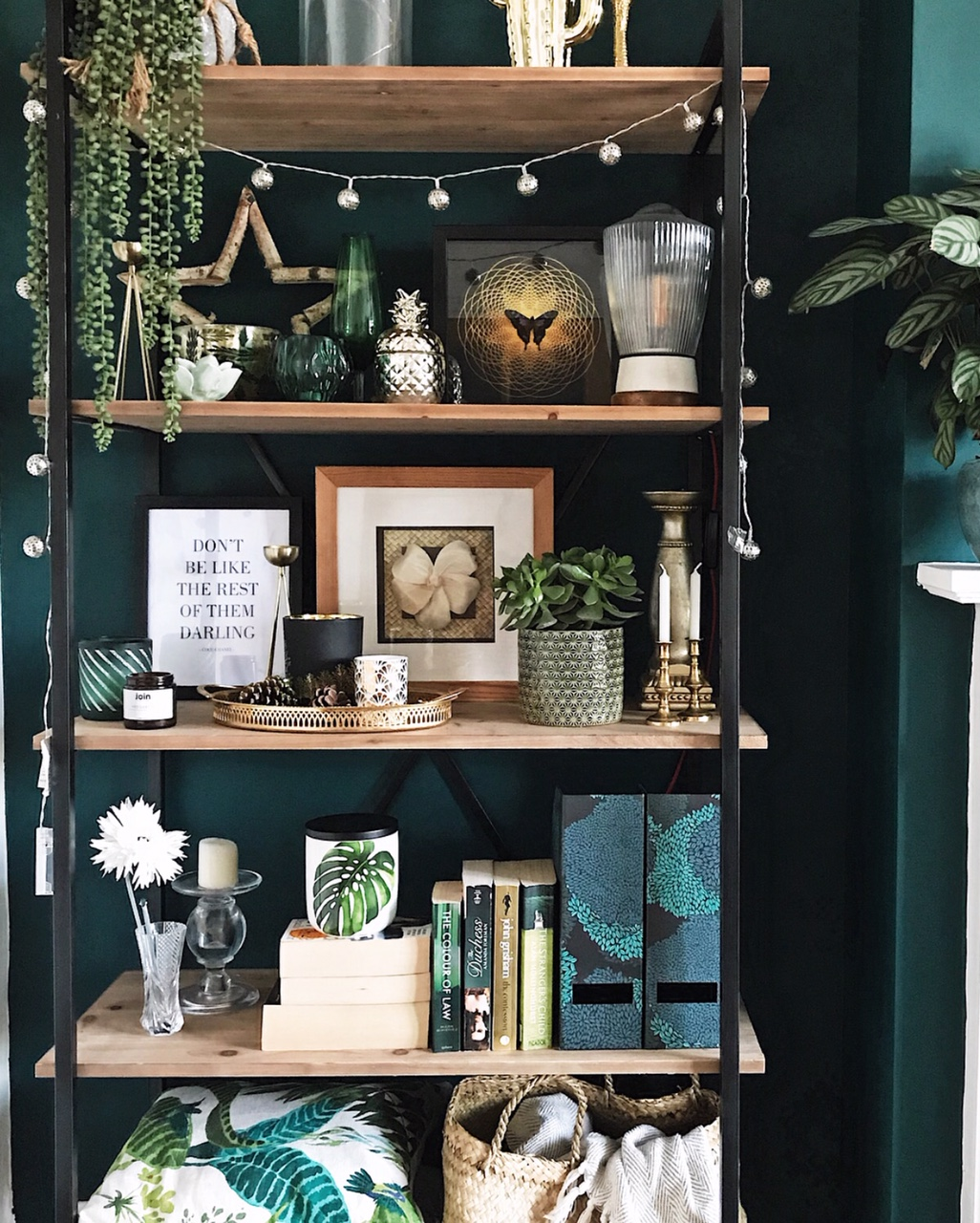 I love how the industrial shelves and gold details look against this dark green wall