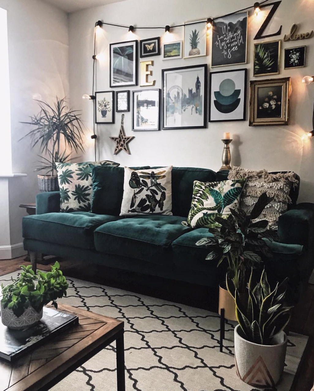 The rug is back down, but this sofa is a perfect partner to my green wall!
