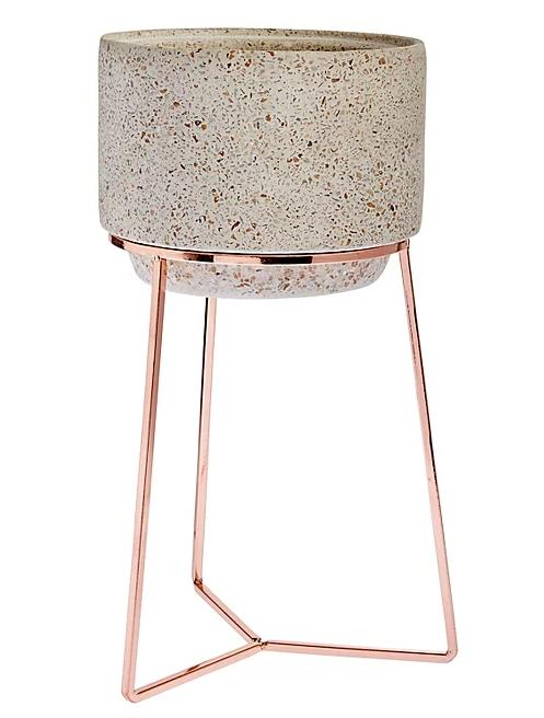 Concrete and Copper Plant Pot