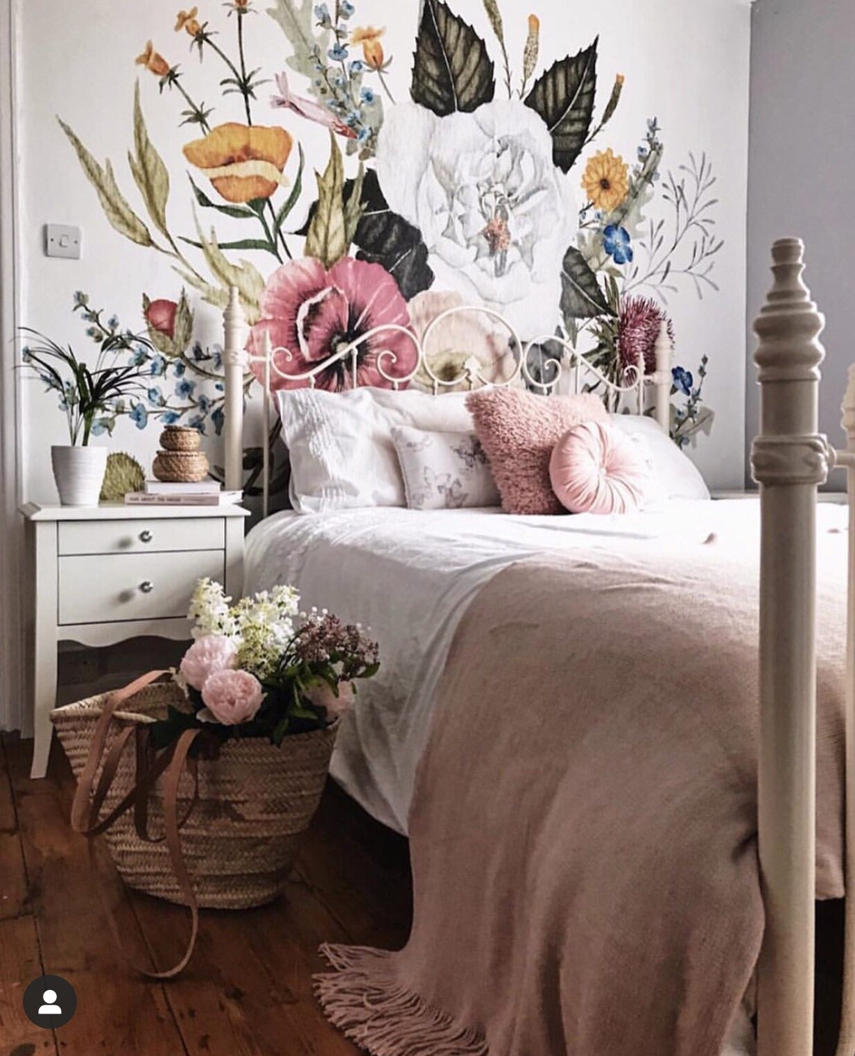 The beautiful wallpaper by  Anewall  and introducing more pink into the room. Notice the walls around it are still grey!