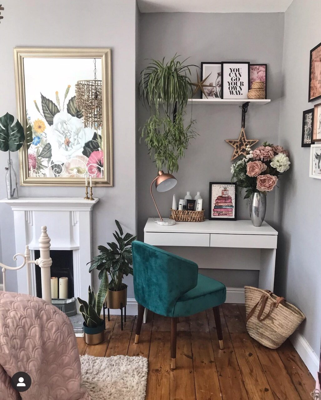 Adding a bit of green to the room in the form of this fabulous  Cult Furniture  Forest Green velvet chair