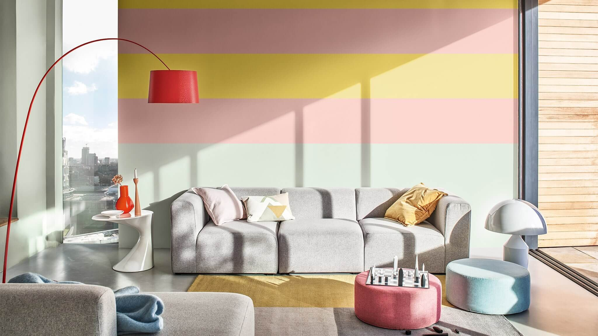 A very colourful living room with  Tranquil Dawn  as the main colour.