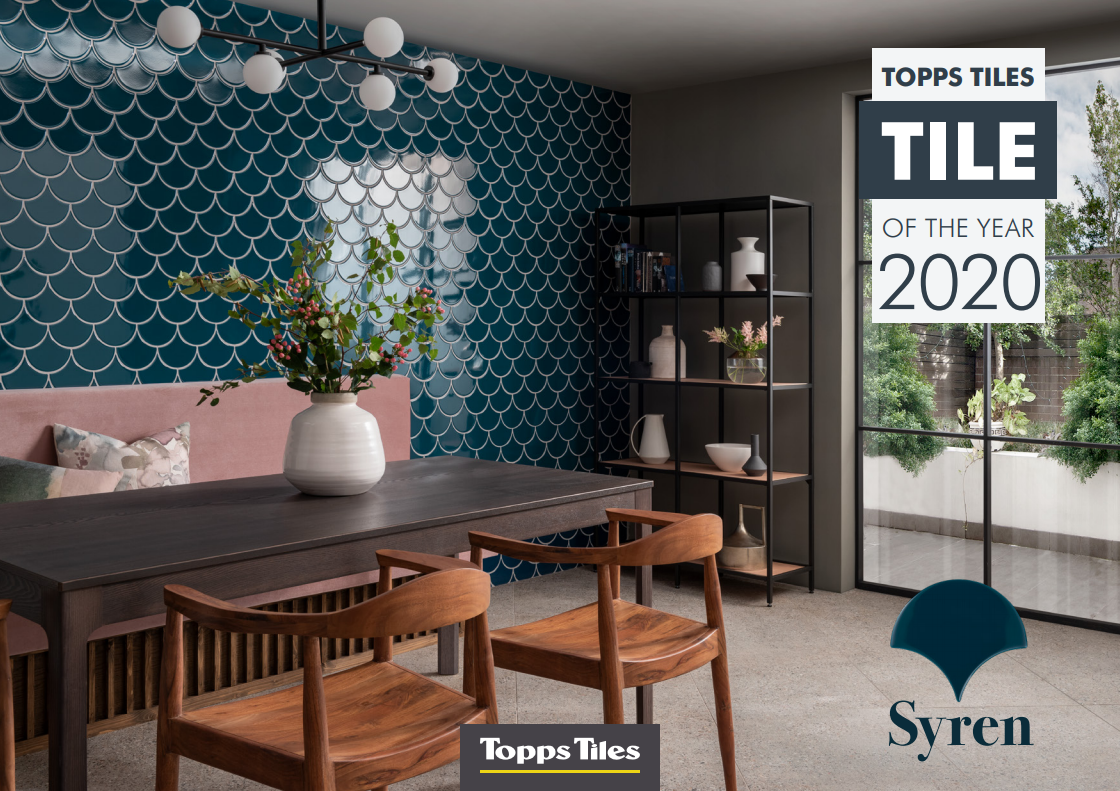 Showing how the  Syren  tile can be used in the dining room. Credit -  Topps Tiles