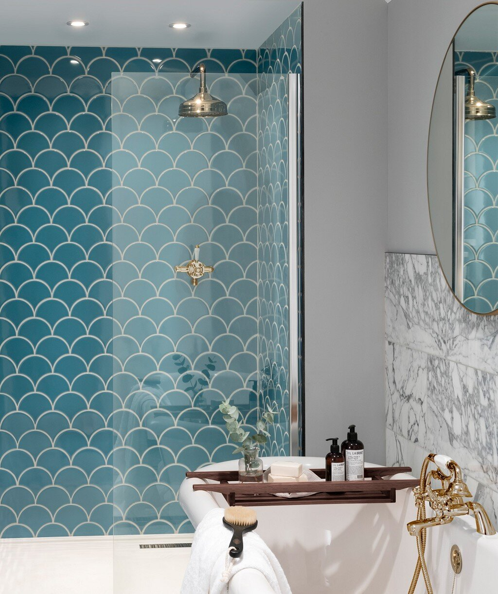 Nordic Blue  in the bathroom. Credit:  Topps Tiles