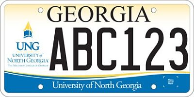 An example of a University of North Georgia license plate.