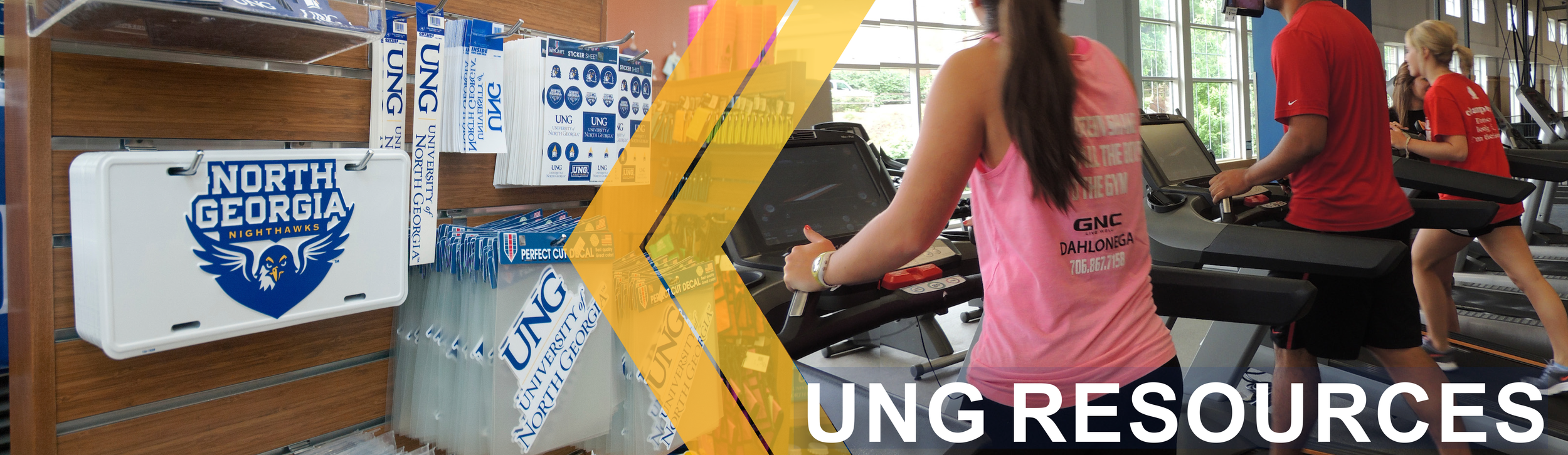 University of North Georgia Resources page banner: Image shows a wall of University of North Georgia car decals, stickers, and tags. The second image shows people using the gym located at the University.