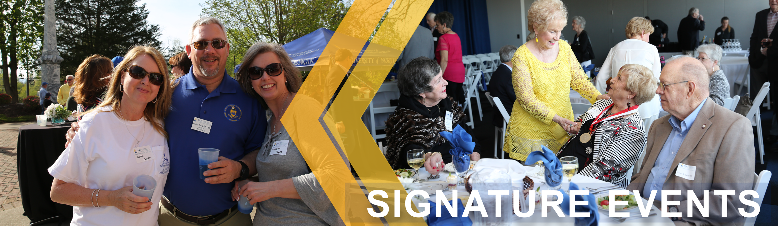 Header banner for Signature Events: First image shows a group of Alumni members holding their cups at an Alumni gathering. The second image shows a group of friends reuniting at an Alumni reunion.
