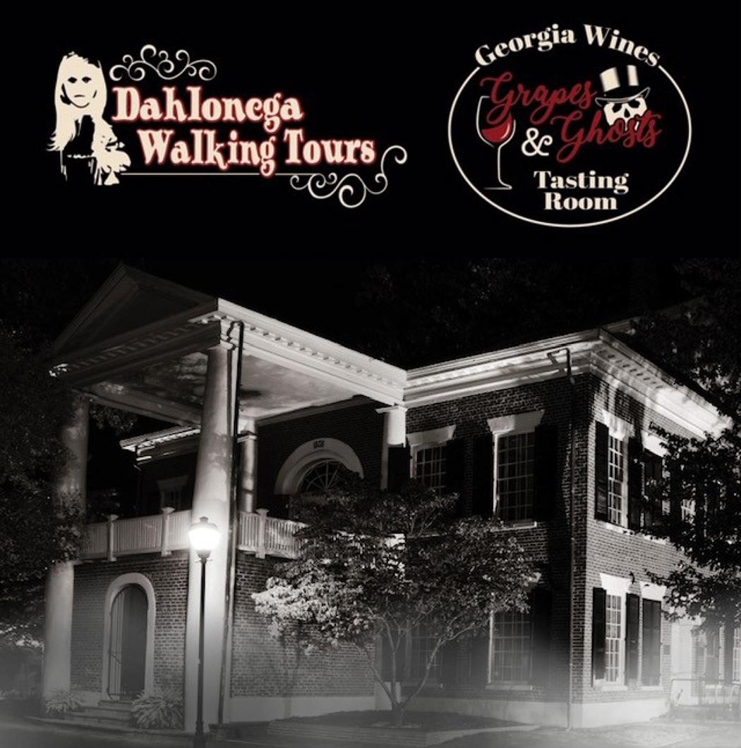 "Dahlonega Walking Tours presents ""Grapes & Ghosts"" wine tour."