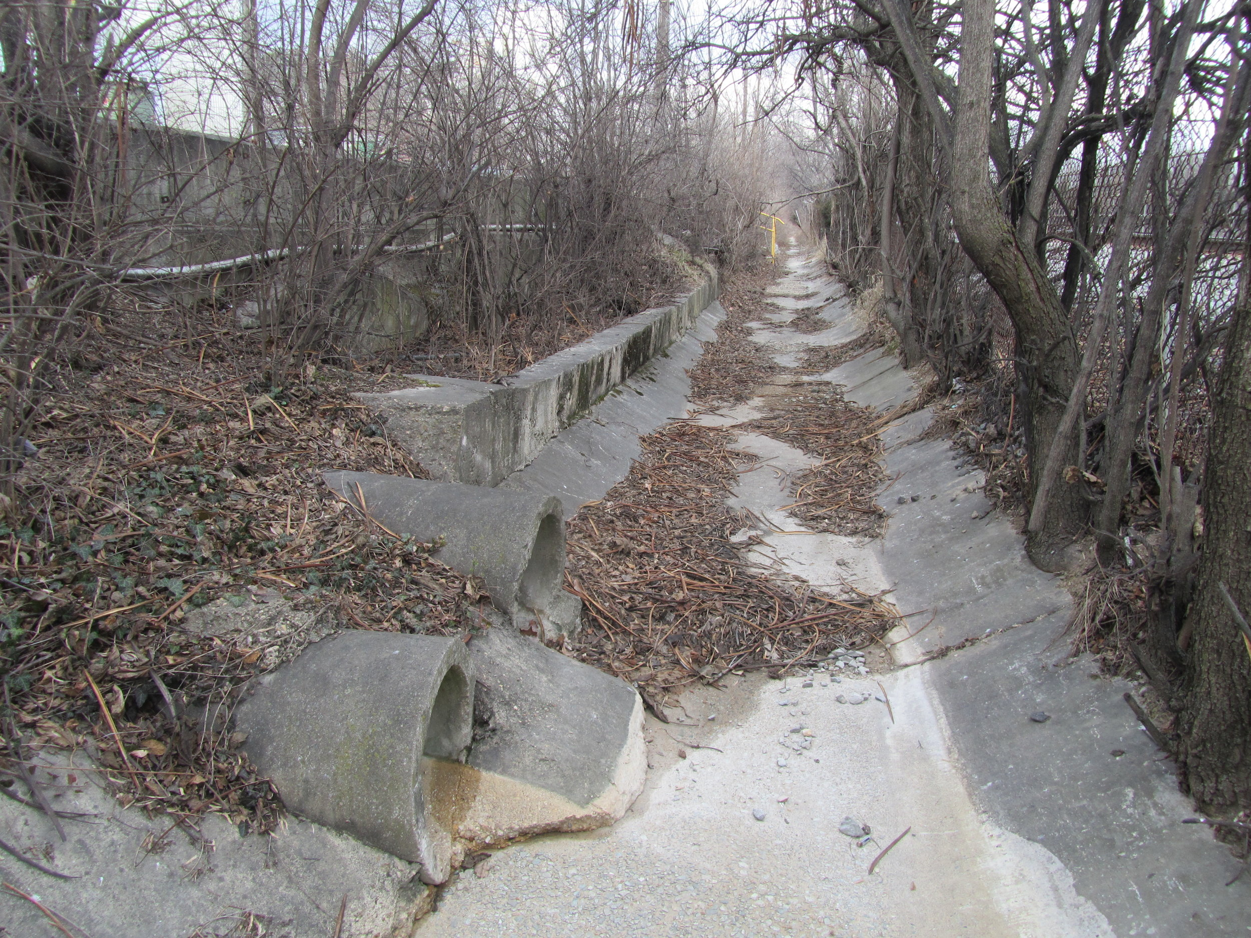Concrete swale b/t Aggregate Ind. and WMATA properties