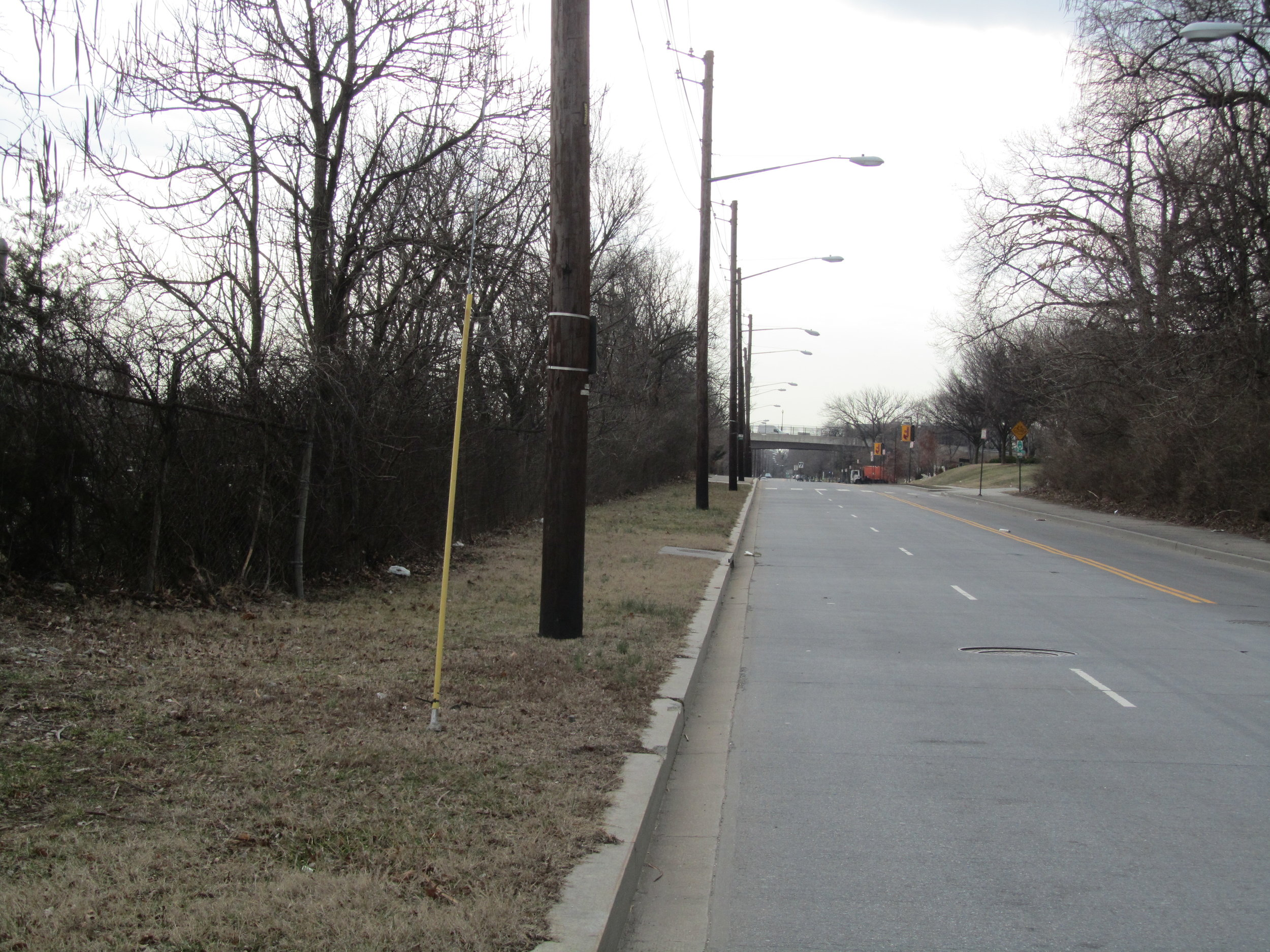 Utility poles near proposed MBT