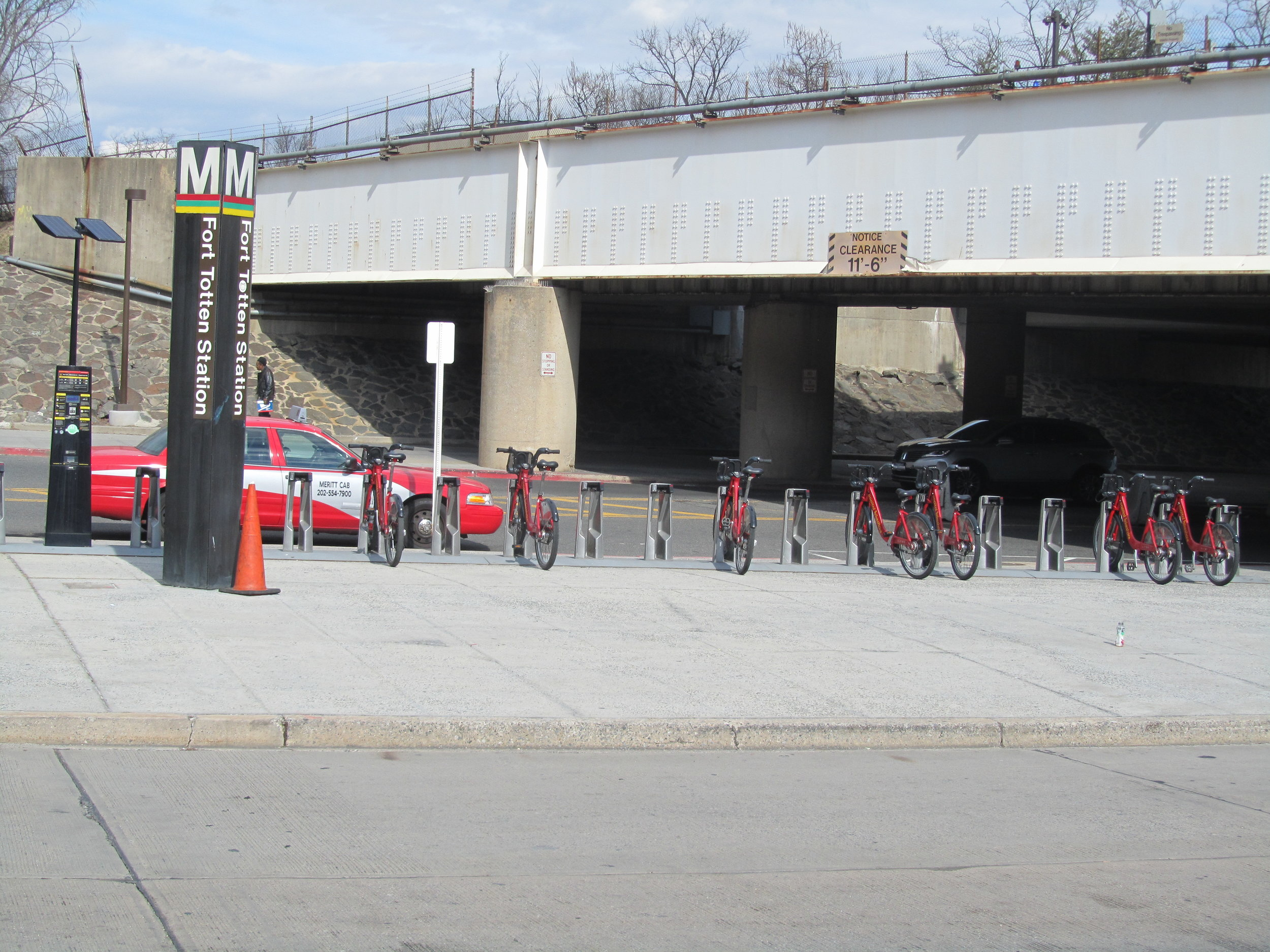 Image of the bikes from the Capital Bikeshare docked at the Fort Totten Metro Station