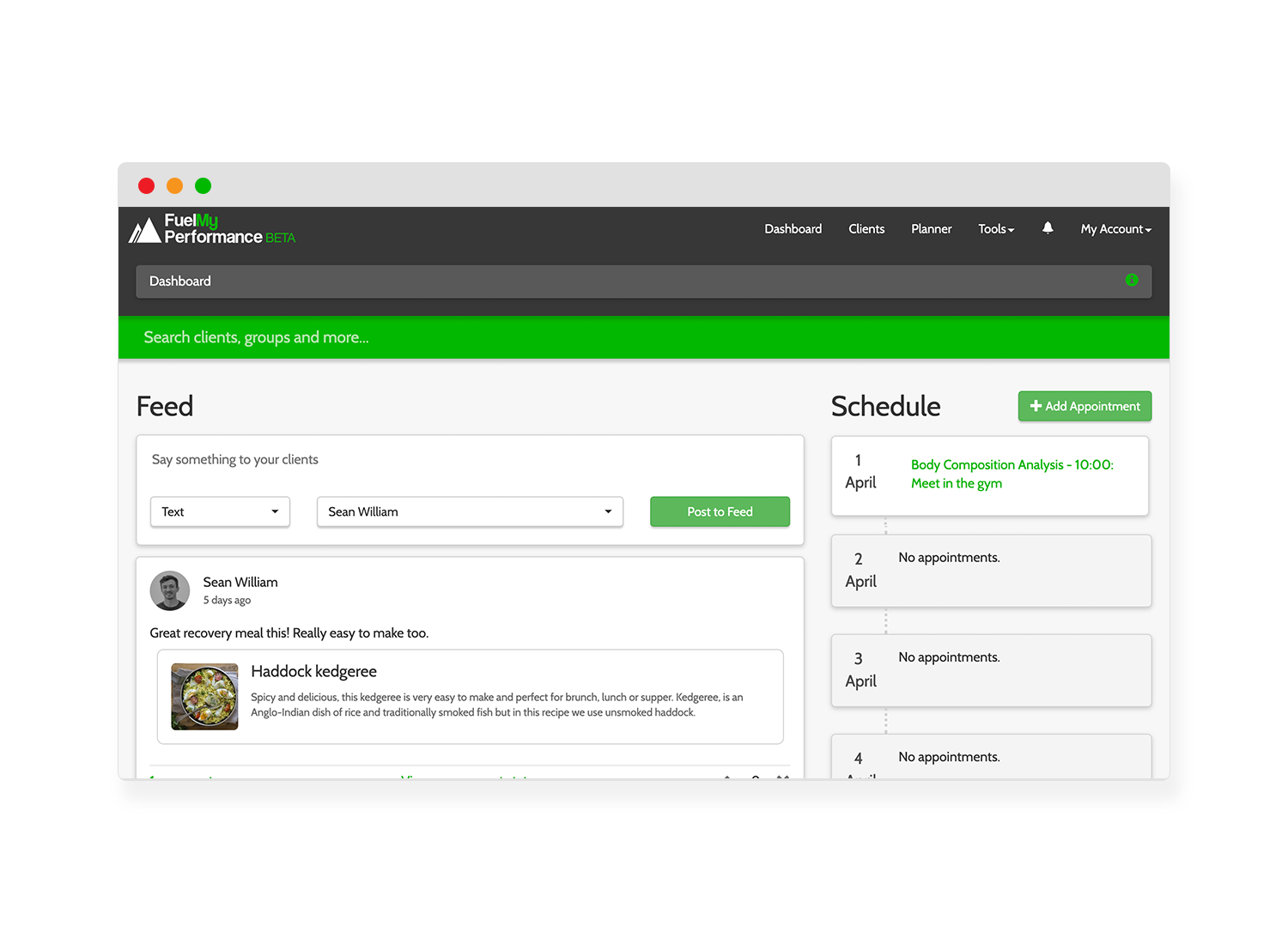 The feed - Post recipes, infographics and general updates to your clients feed. They will be prompted to view your post by an in-app notification. Track client engagement.