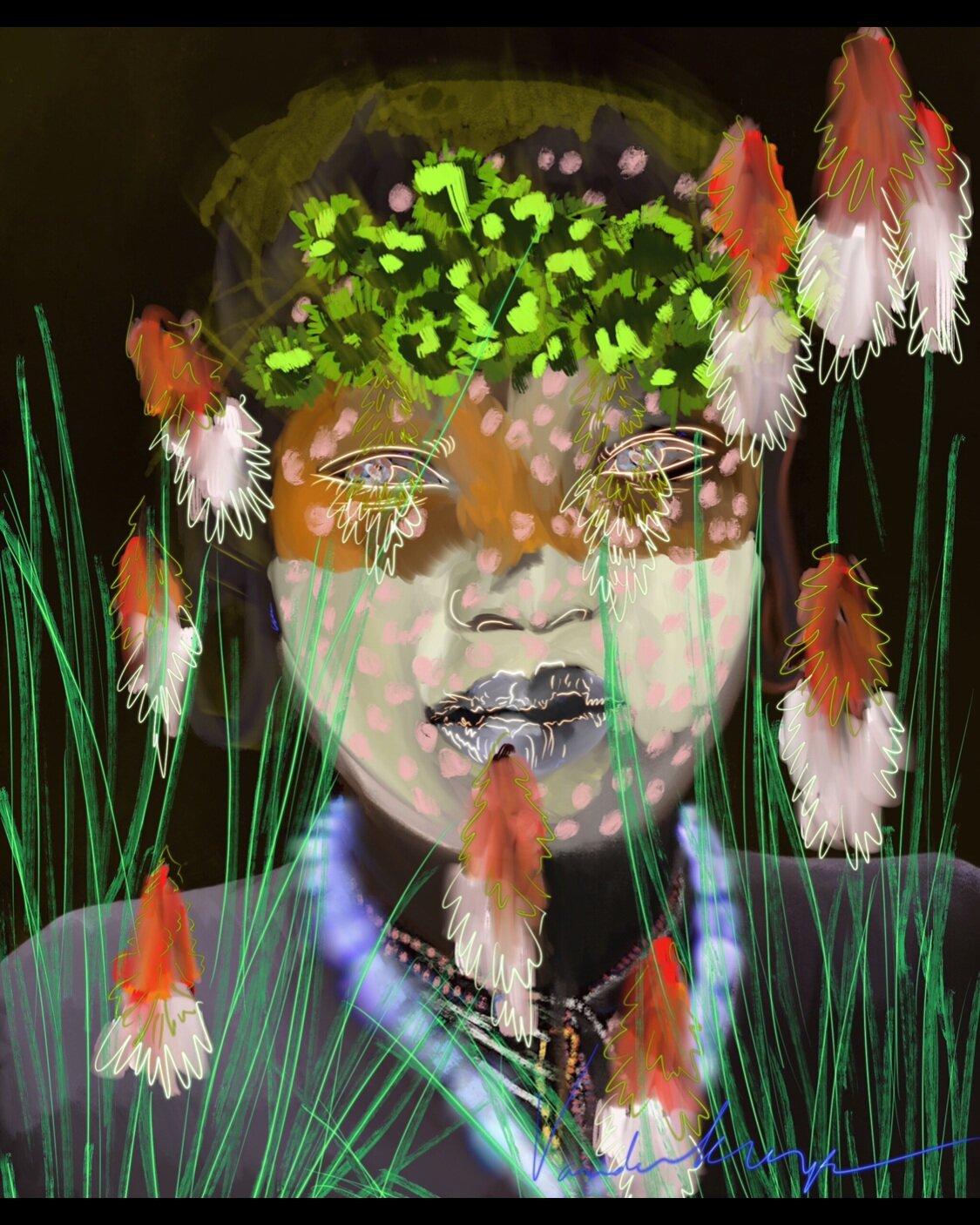 Une Photo - ClickLes fleurs rouge, rosâtresTelle une sucette dans les mains d'un enfant, elle fondent dans le décorClickDes herbes virevoltantGauche, droiteElles se succèdent, mais toujours pointées vers le cielClickUn detail, ses colliersSont-ce des rîtesSont-ce des gri-gri?ClickDe l'argile, de la craieS'étant le long de son visageDessine et contour sa bouche, son nezClick,ClickSe fraientDeux yeux, non pas hagardMais ferme et savantsIls percent et traversent les mondes et les âmesClickDes pointes de doigts quoique abstraiteParsèment de manière coloréealentour ses yeux, son nez, sa boucheSubjugantEt subjuguée je suisClickDe part le nid qu'arbore sa têteAnticipantAlors qu'un oiseau s'en serve de réceptacleClickTel est pris qui croyait prendreTel épris,clickclickclick