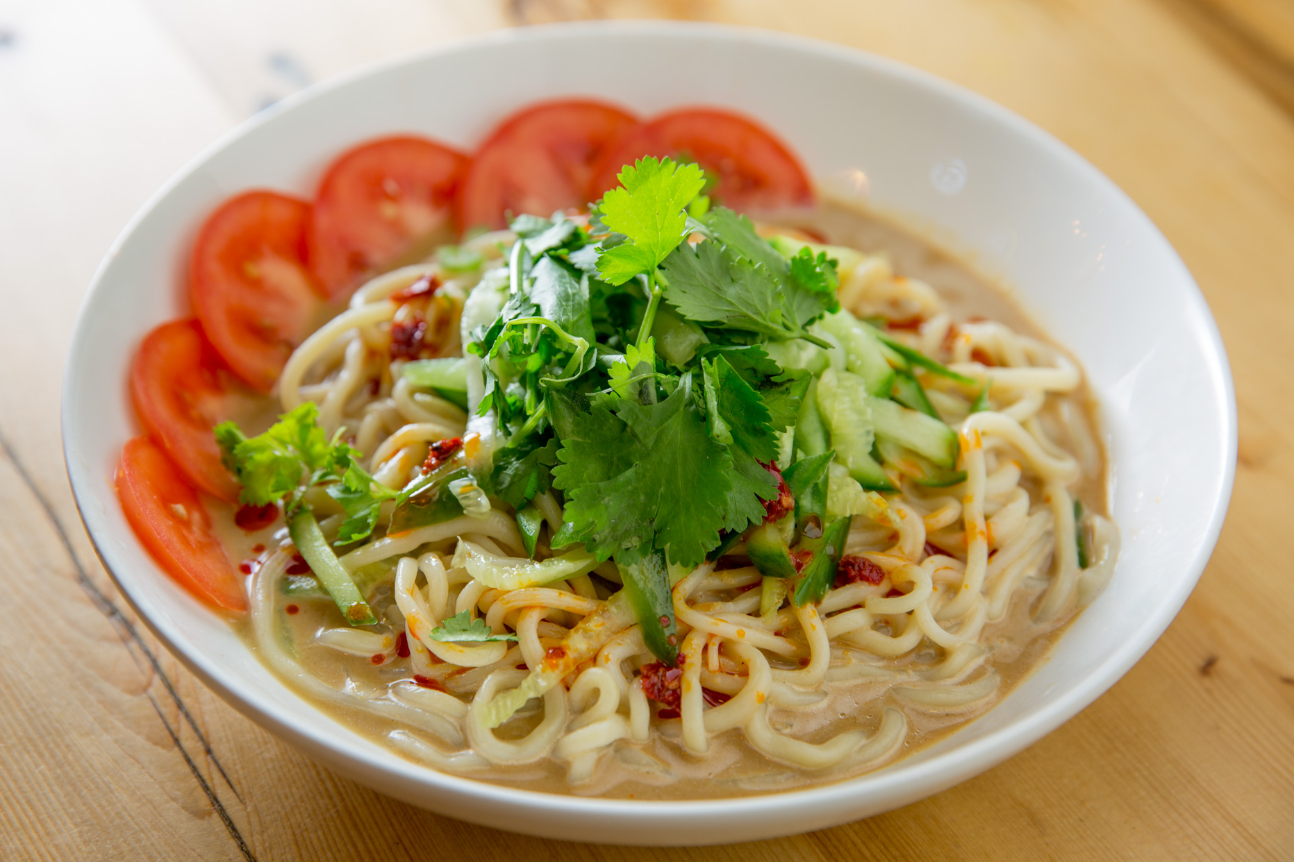 Sesame Noodle Soup with Tomatoes