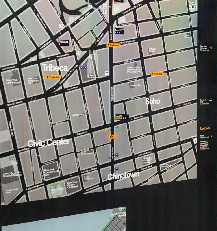 WalkNYC – The maps use a 'heads up' orientation that corresponds to the direction the user is facing.