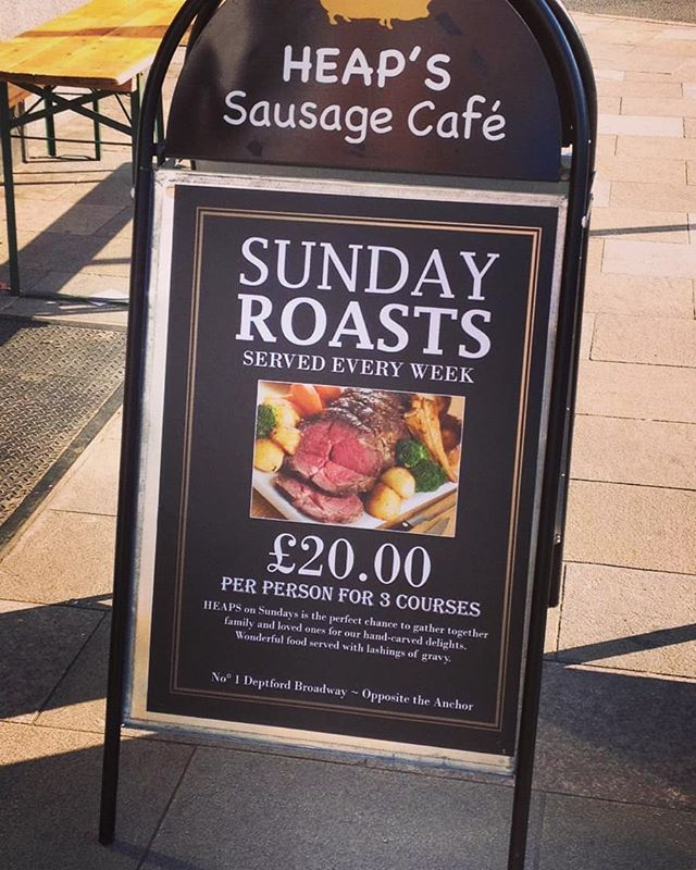 Tomorrow Sunday roast at #heapsdelidiner #book a table start at 12 until 5pm. 3 courses for 20 pound . . . @heapssausages @deptfordx @deptfordcinema @deptfordmktyard @deptfordcraftbeerfeast @deptfordcomchoir @jobcentredeptford @sundayroasts #sunday #sundayroast @londonist_com @greenwich_love  @roastdinnersinlondon #deptfordmarket