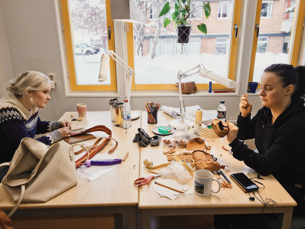 Handicraft school students sew their identity into the belt, such as where they come from.