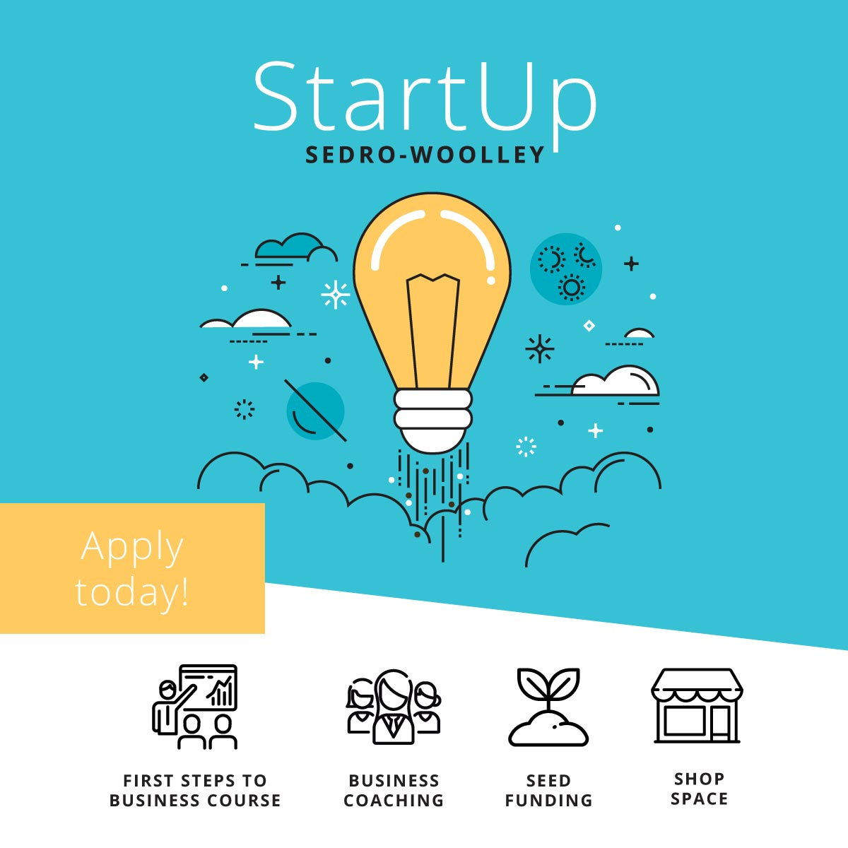 StartUp Sedro-Woolley  is a pilot program for aspiring entrepreneurs featuring free business training and support, cash prizes and the chance for participants to launch a pop-up business at a new business park.  Up to 20 emerging entrepreneurs, including up to three high school students, will have the opportunity to participate in CIE's First Steps to Business course, a 16-hour course that will be held twice a week (Tuesdays and Thursdays from 4-6pm) starting in May.  Learn More