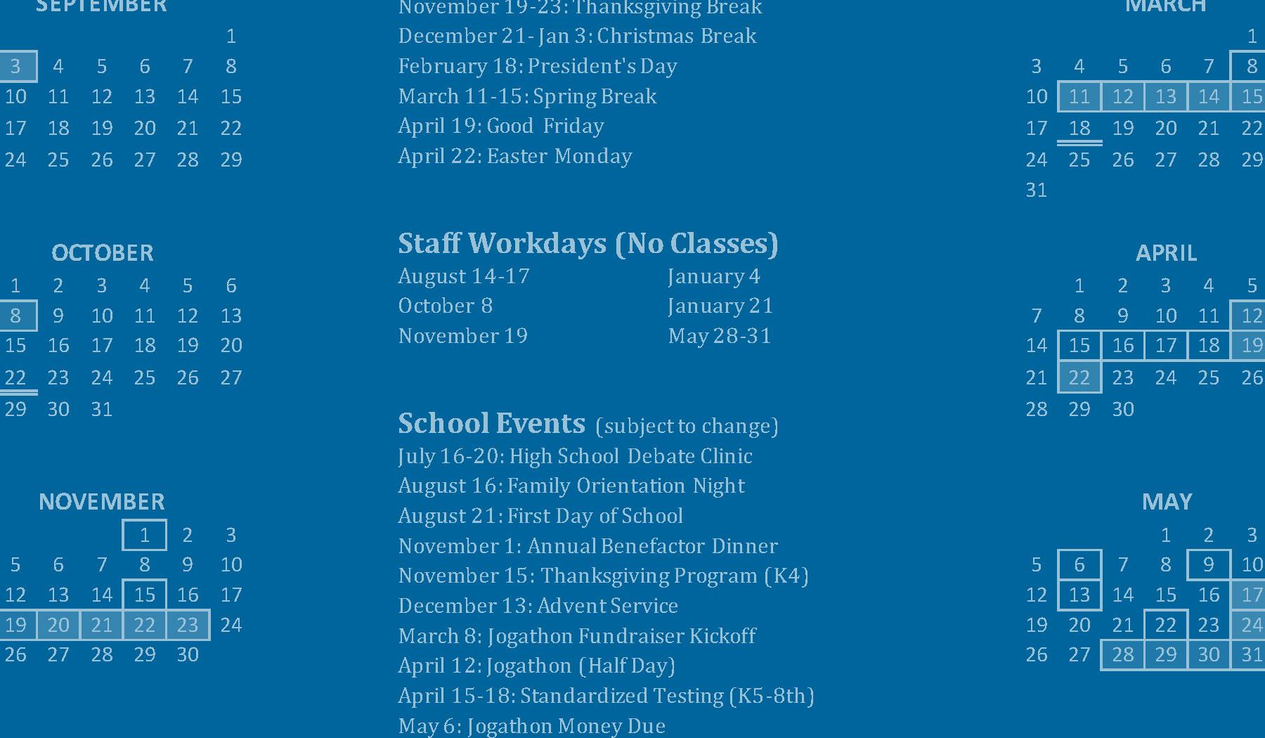 Academic Calendar - 2019–2020