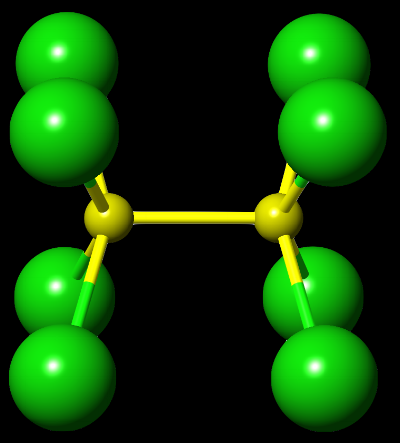 A crystallographically determined structure of Tc2Cl82-. A quadruple bond between the two Tc atoms (yellow) is incredibly short and photo-sensitive.