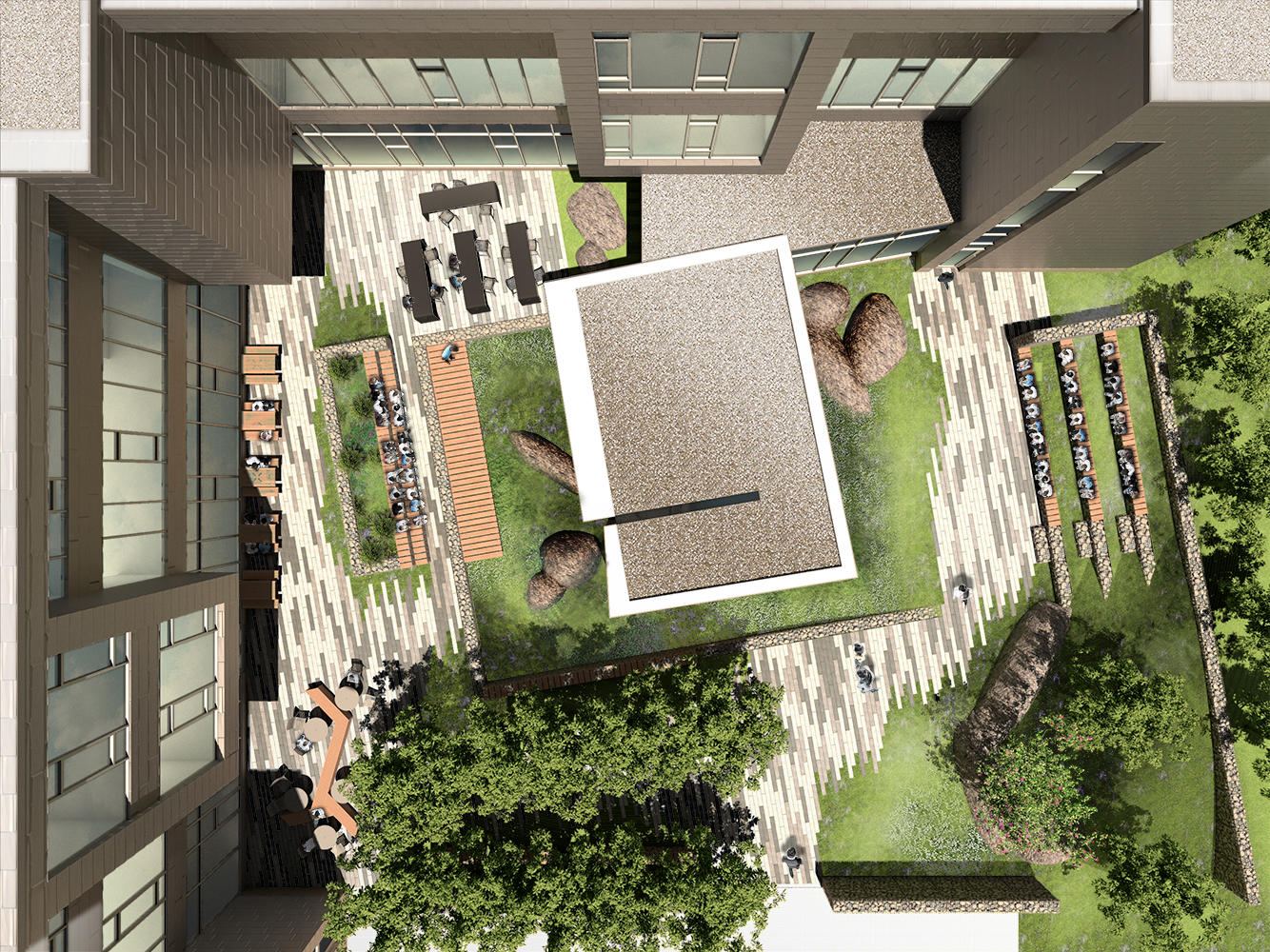 AERIAL VIEW OF OUTDOOR COURTYARD