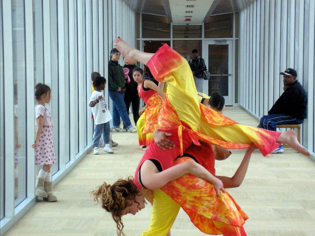 Dancers on CHUH Library Pedestrian Bridge