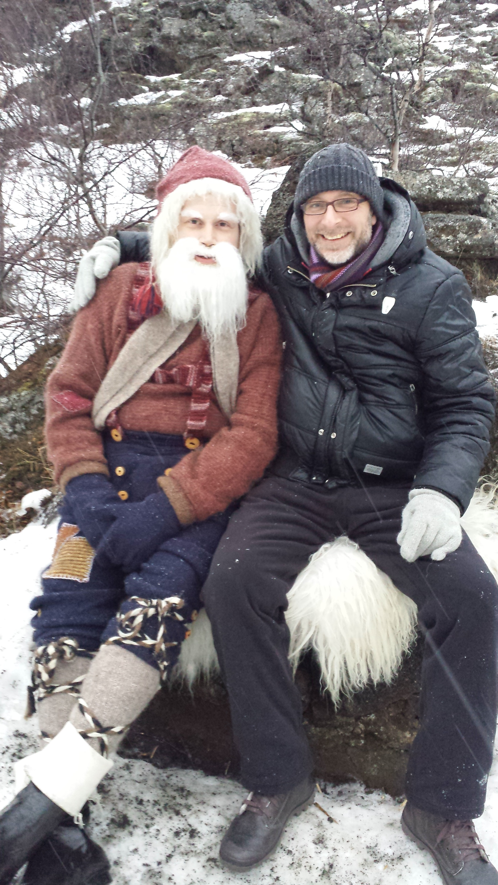 Meet Stekkjarstaur, a.k.a. Gimpy, and my travel buddy, Chris. What an incredible surprise to stumble into a Yule Lad hiking in a lava field in the north of Iceland!