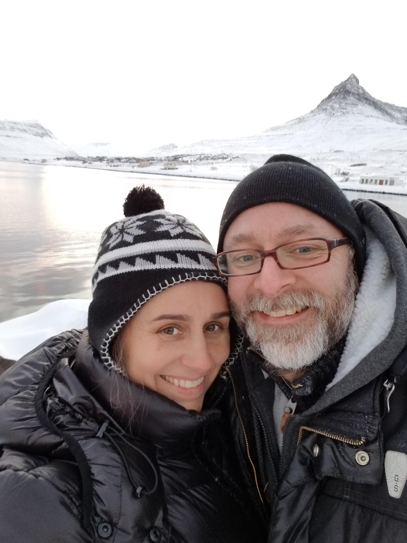 Chris and I on the last day Súðavík saw the sun for six weeks, Dec 2017